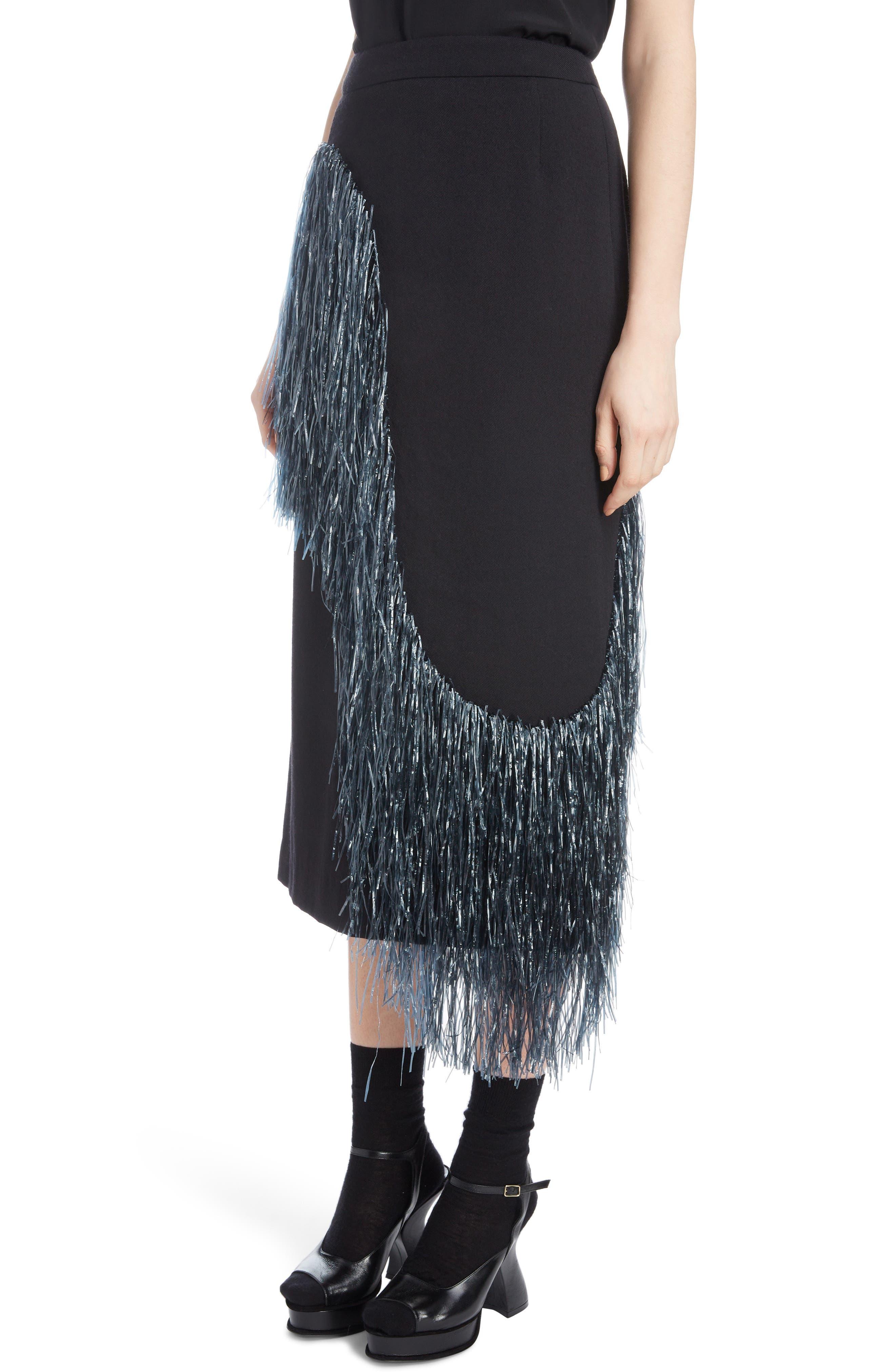 Raffia Fringe Skirt,                             Alternate thumbnail 4, color,                             ANTHRACITE