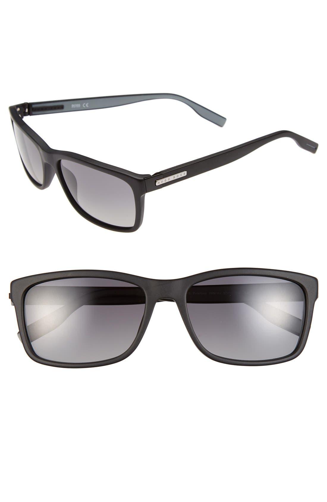 57mm Polarized Retro Sunglasses,                             Main thumbnail 1, color,                             001