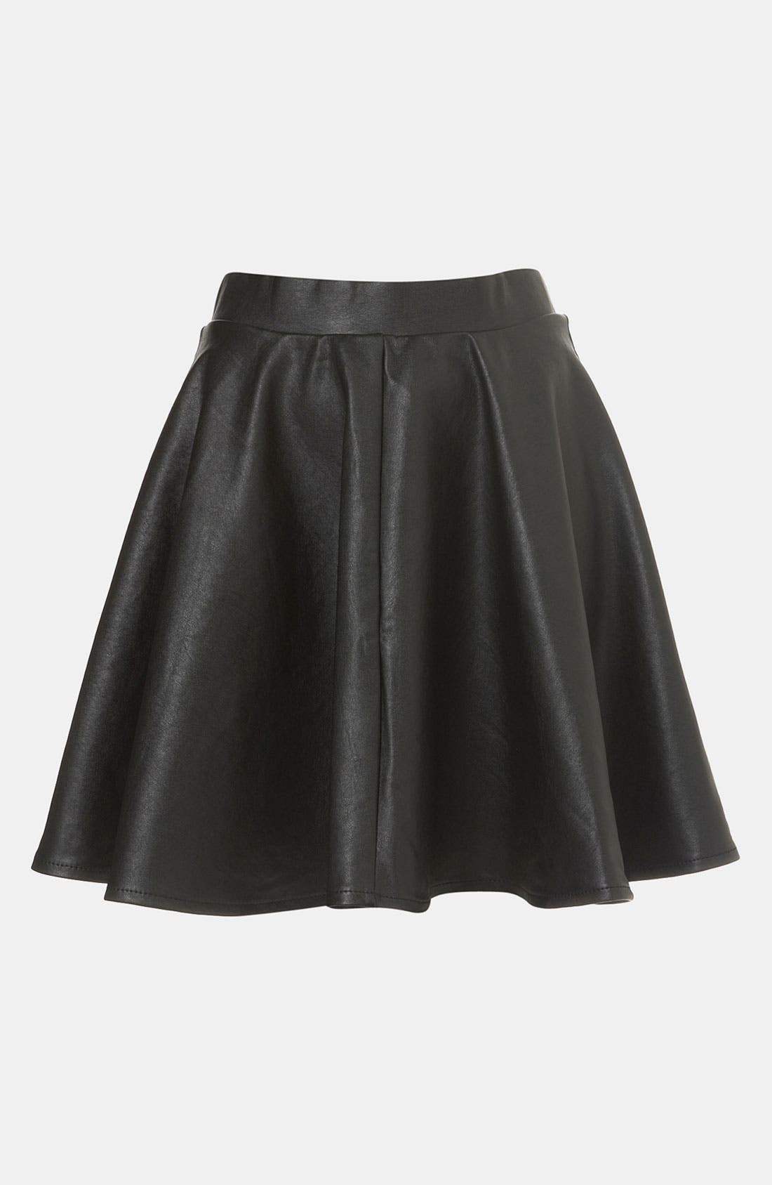 TOPSHOP,                             'Andie' Faux Leather Skater Skirt,                             Main thumbnail 1, color,                             001