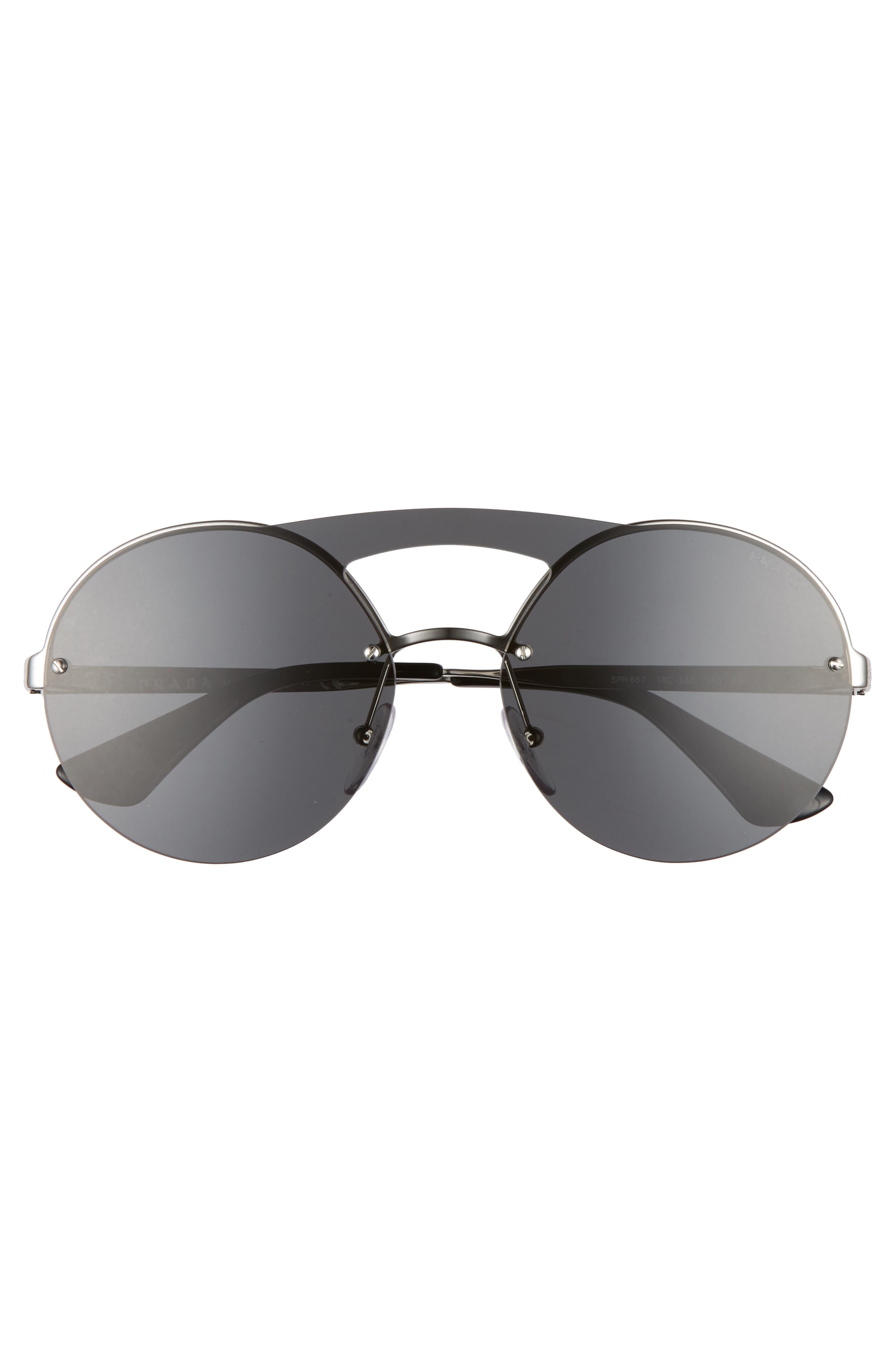60mm Round Rimless Sunglasses,                             Alternate thumbnail 3, color,                             020