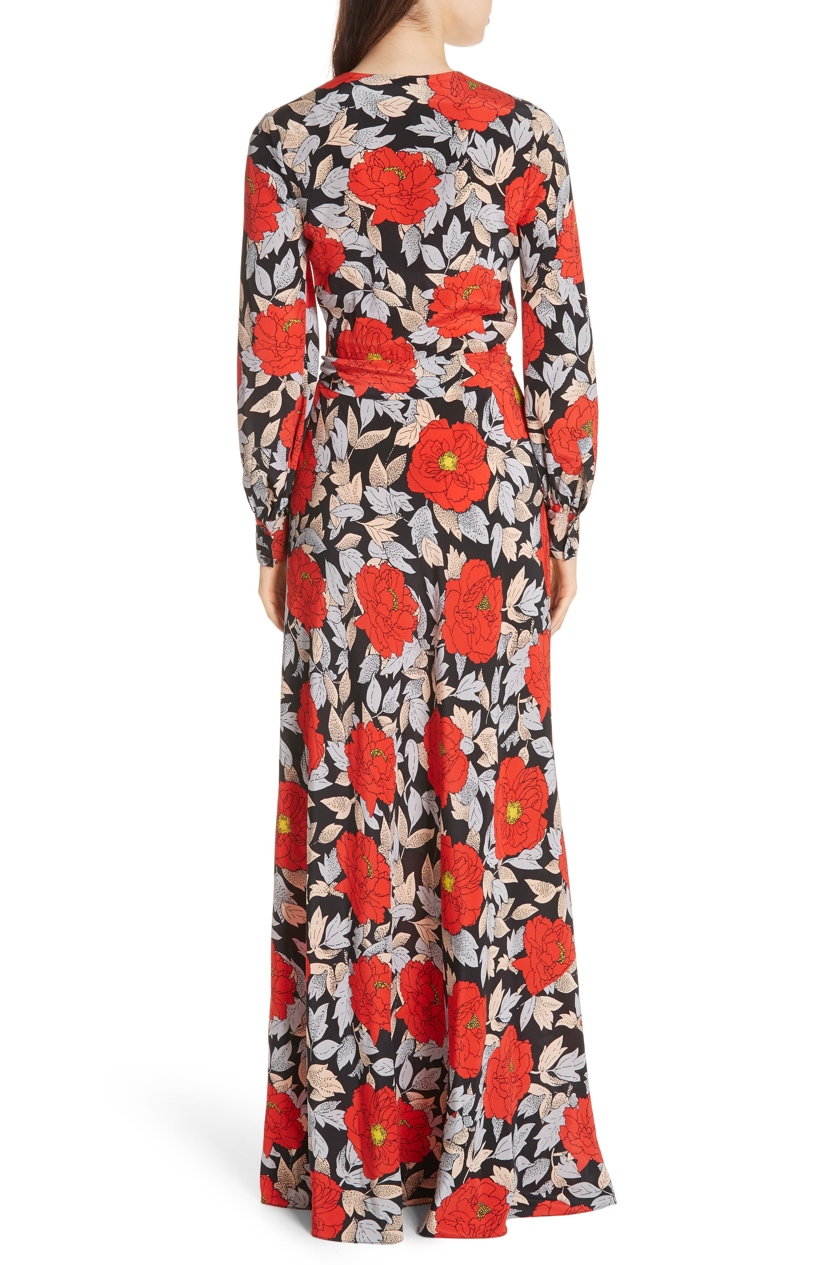 Diane von Furstenberg Waist Tie Silk Maxi Dress,                             Alternate thumbnail 2, color,