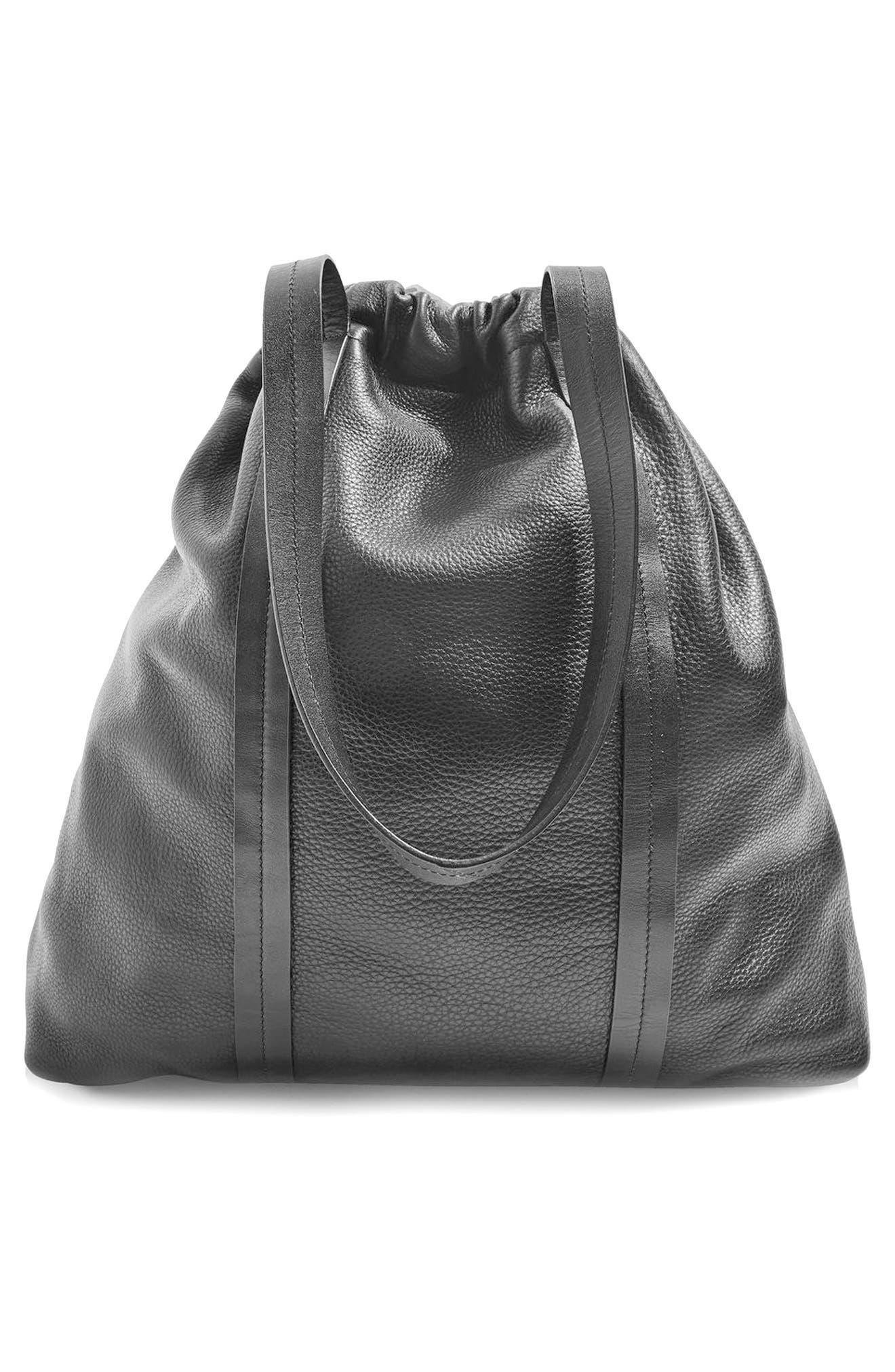 Premium Leather Drawstring Shoulder Bag,                             Alternate thumbnail 3, color,                             001