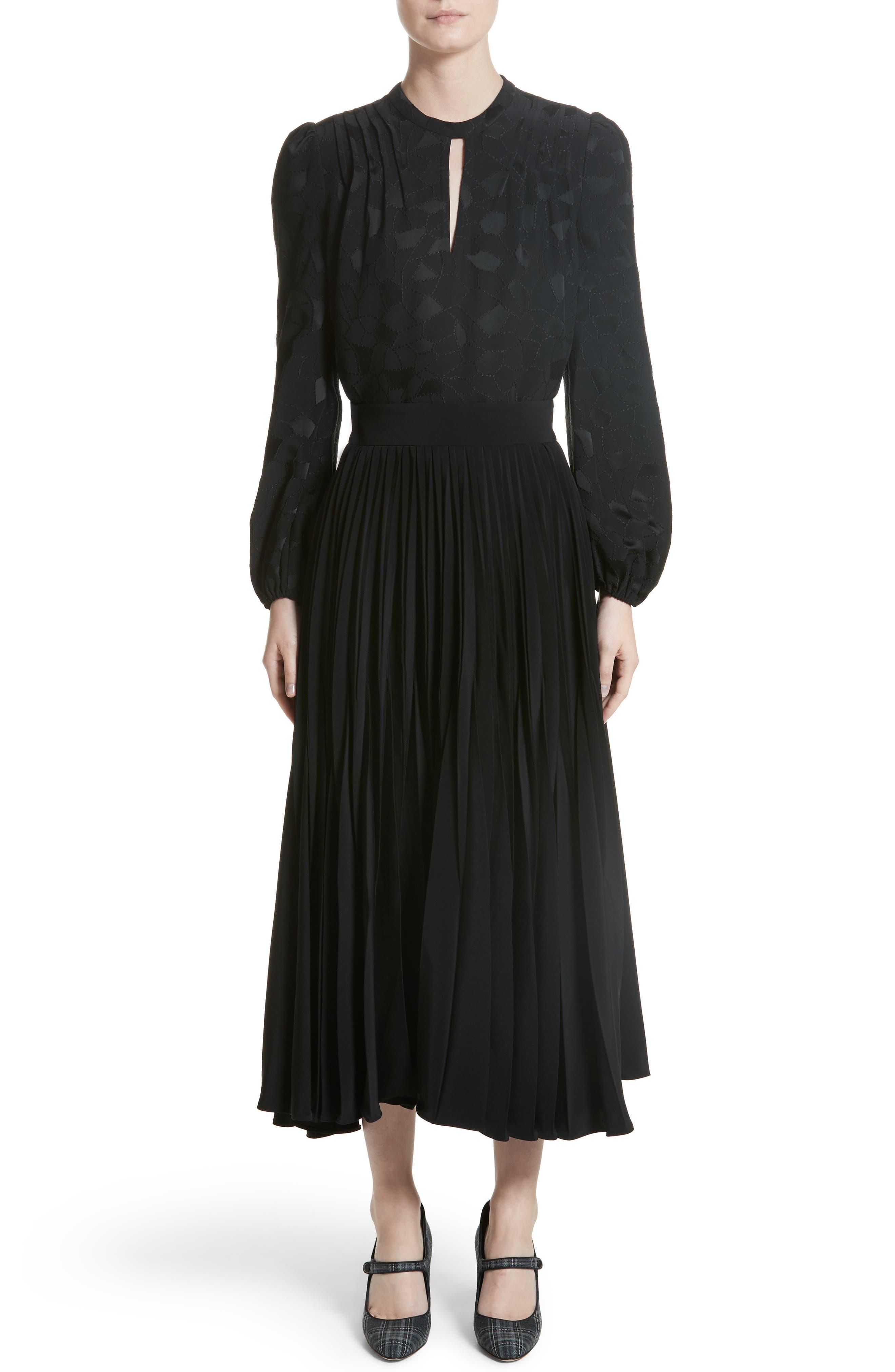 Pleated Stretch Crepe Midi Skirt,                             Alternate thumbnail 7, color,                             001
