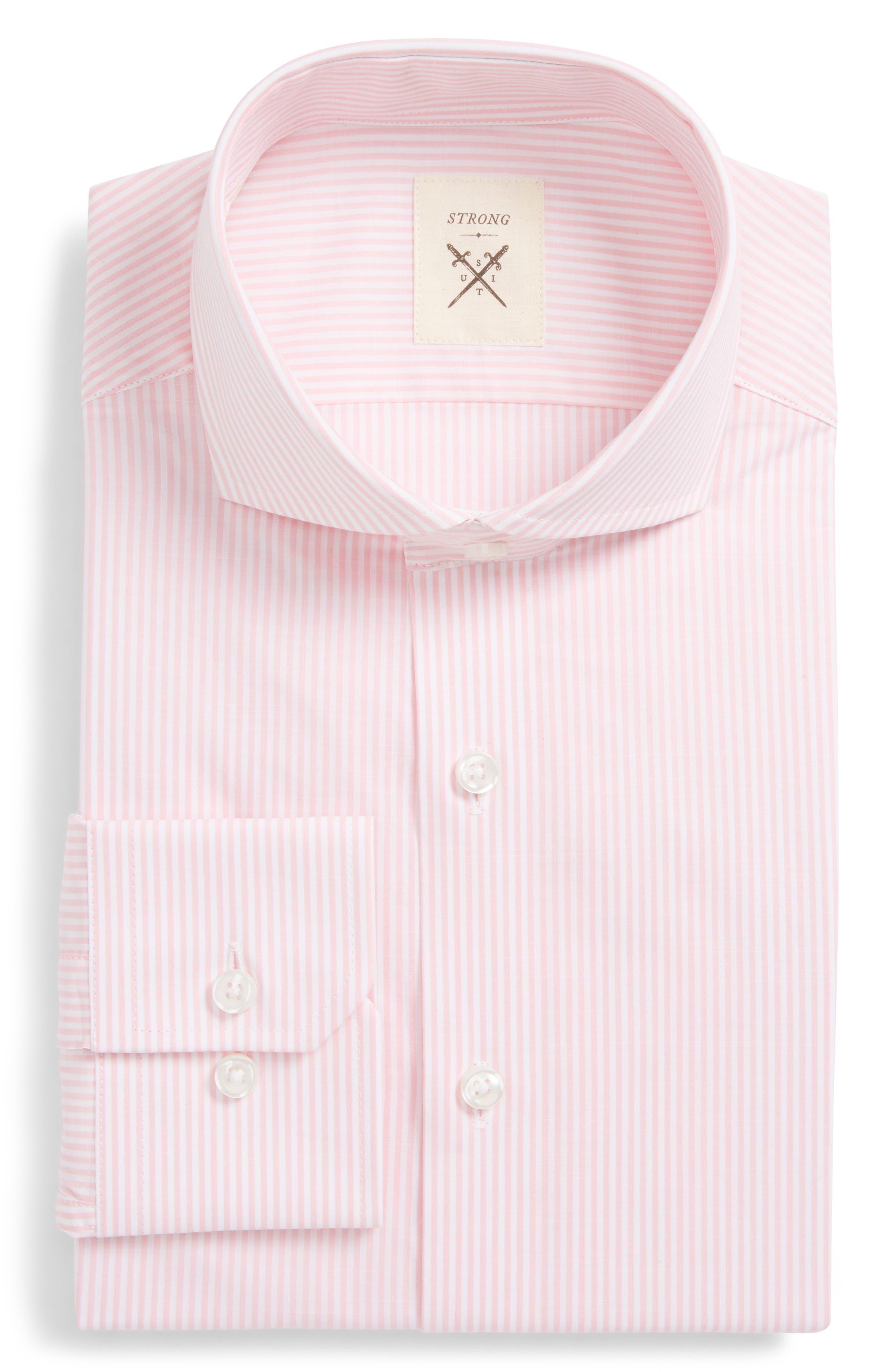 Trim Fit Stripe Dress Shirt,                         Main,                         color, 666