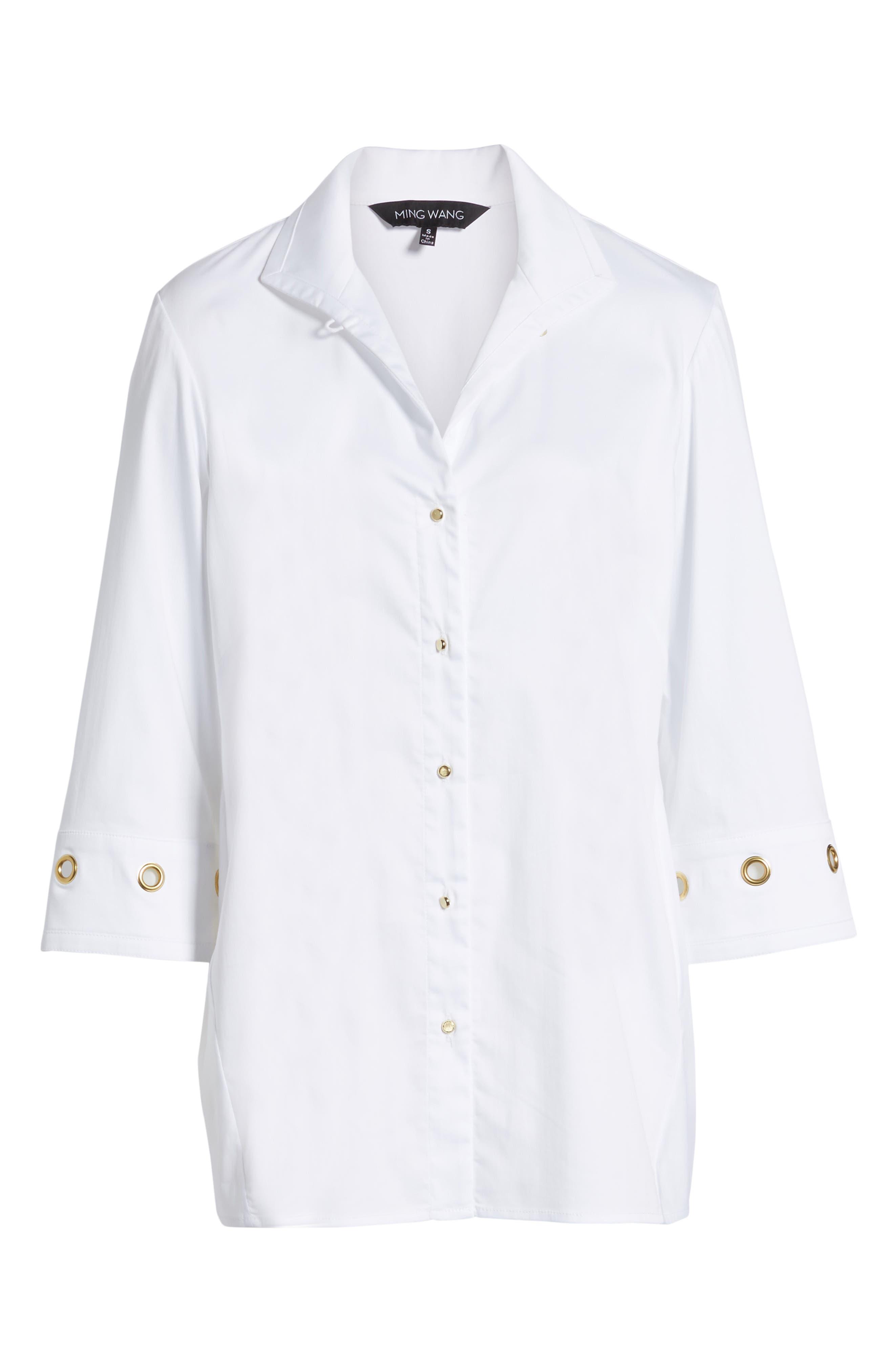 Grommet Sleeve Shirt,                             Alternate thumbnail 6, color,                             100