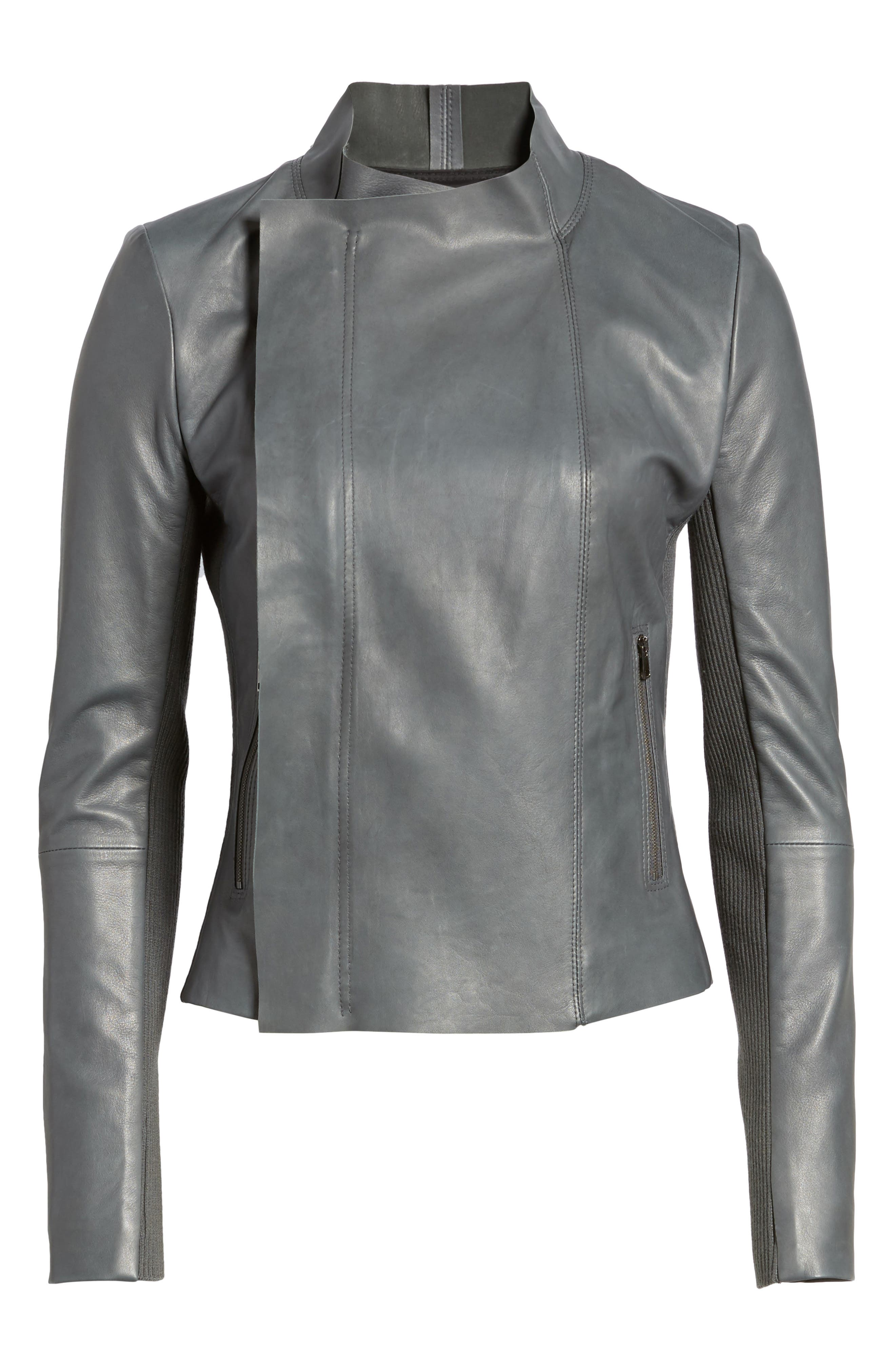 Cascade Front Leather Jacket,                             Alternate thumbnail 5, color,                             021