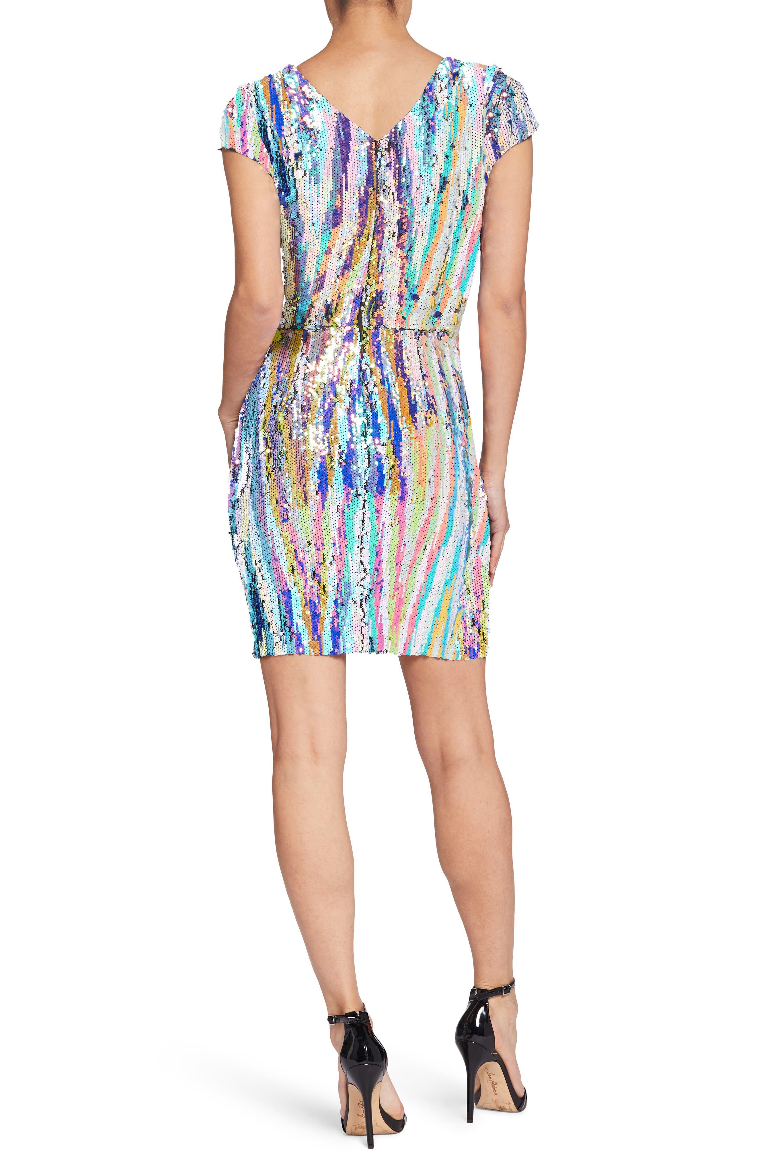 Zoe Sequin Body-Con Dress,                             Alternate thumbnail 2, color,                             OPAL MULTI