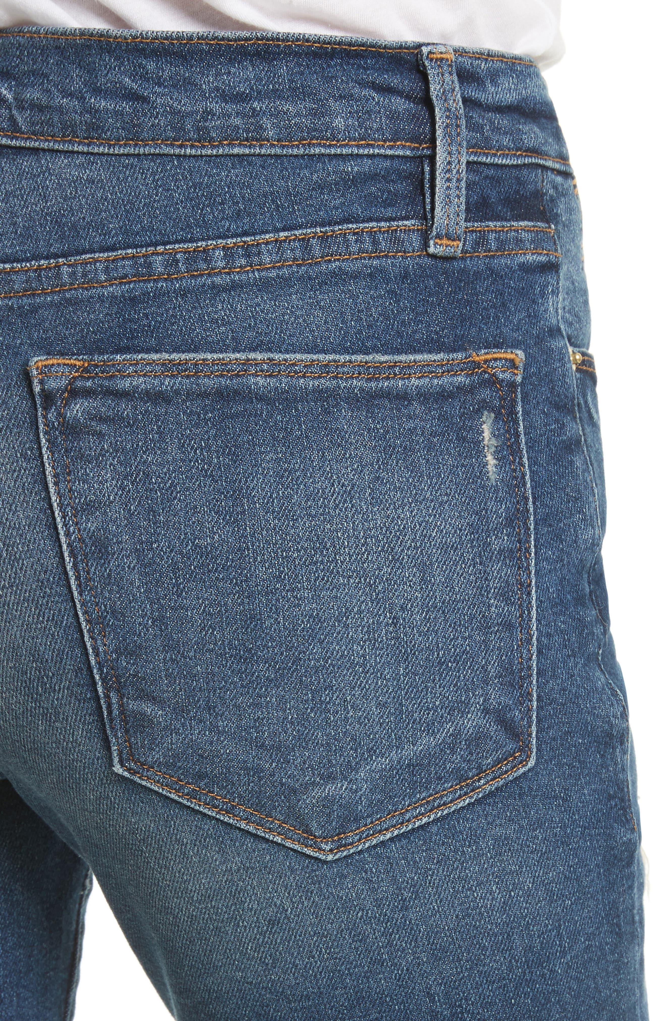 Le High Raw Edge Skinny Jeans,                             Alternate thumbnail 4, color,                             420