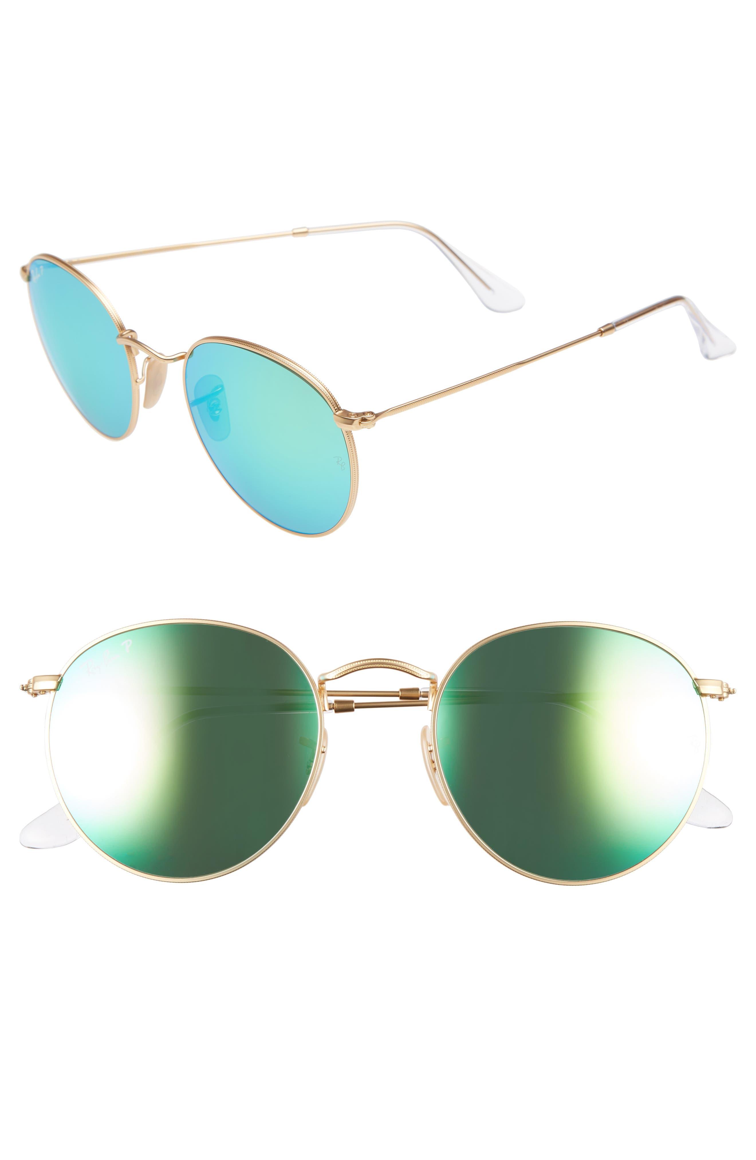 53mm Polarized Round Retro Sunglasses,                             Main thumbnail 1, color,                             300