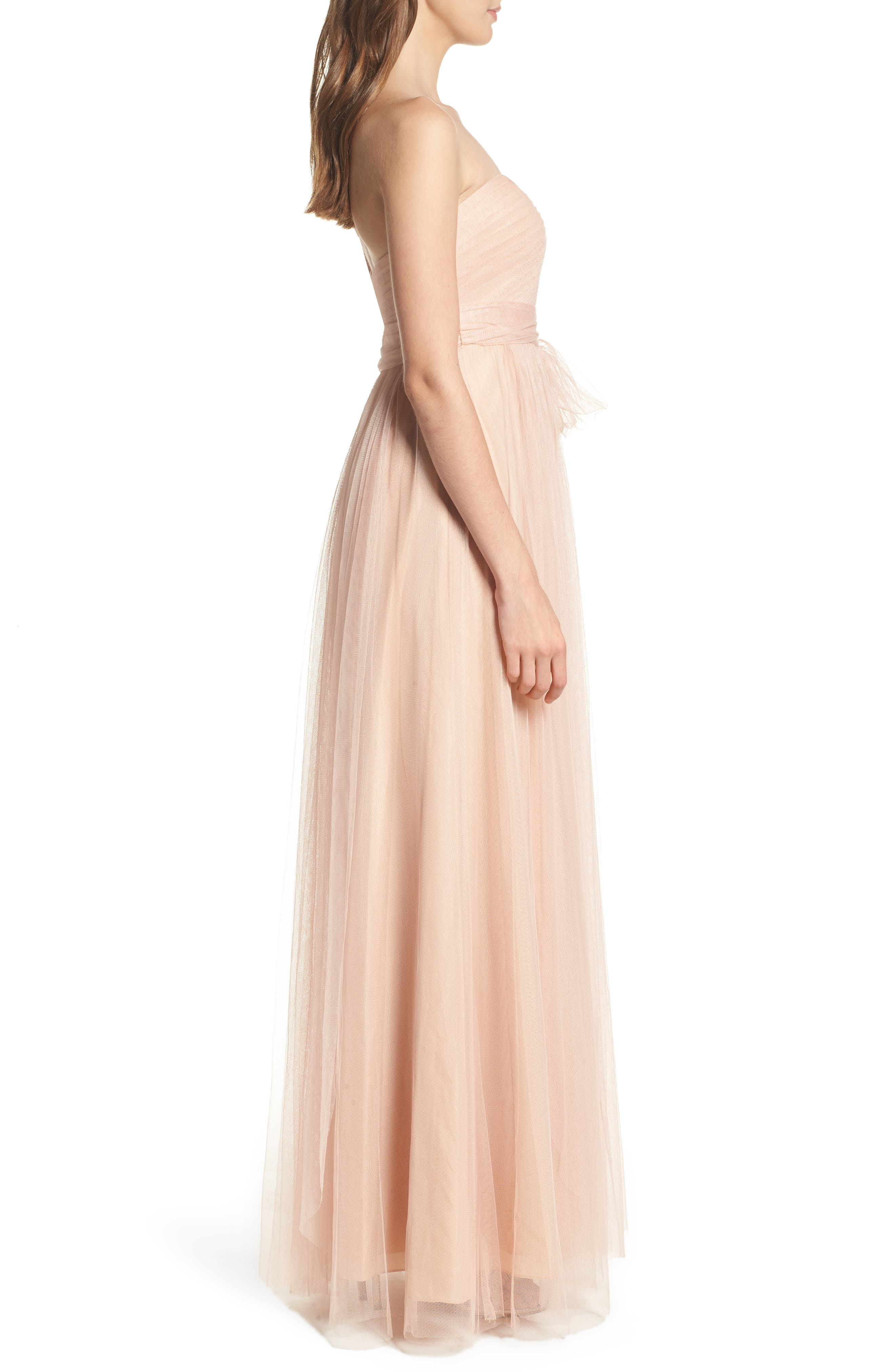 Annabelle Convertible Tulle Column Dress,                             Alternate thumbnail 3, color,                             CAMEO PINK
