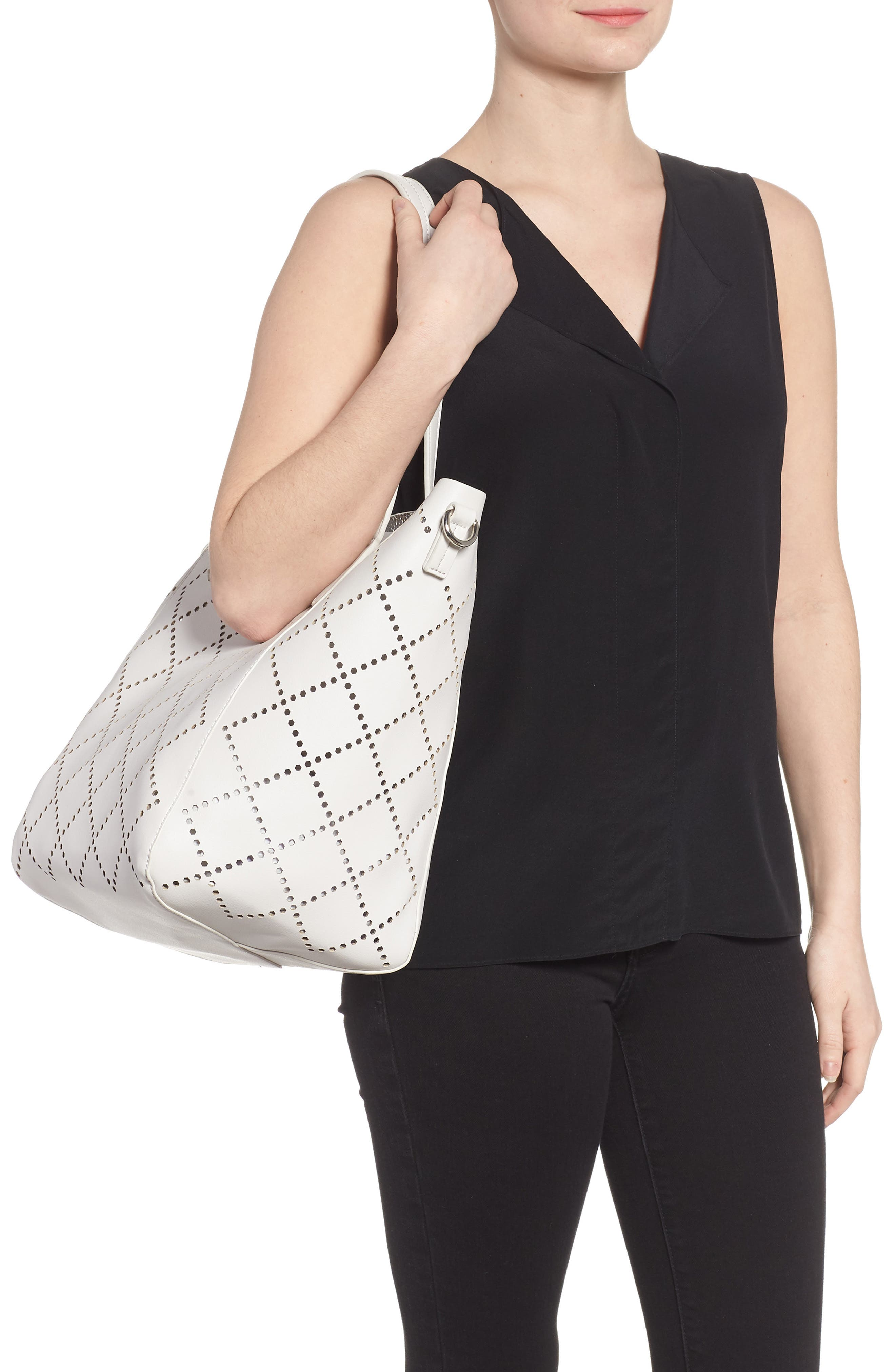 Perforated Faux Leather Tote,                             Alternate thumbnail 3, color,