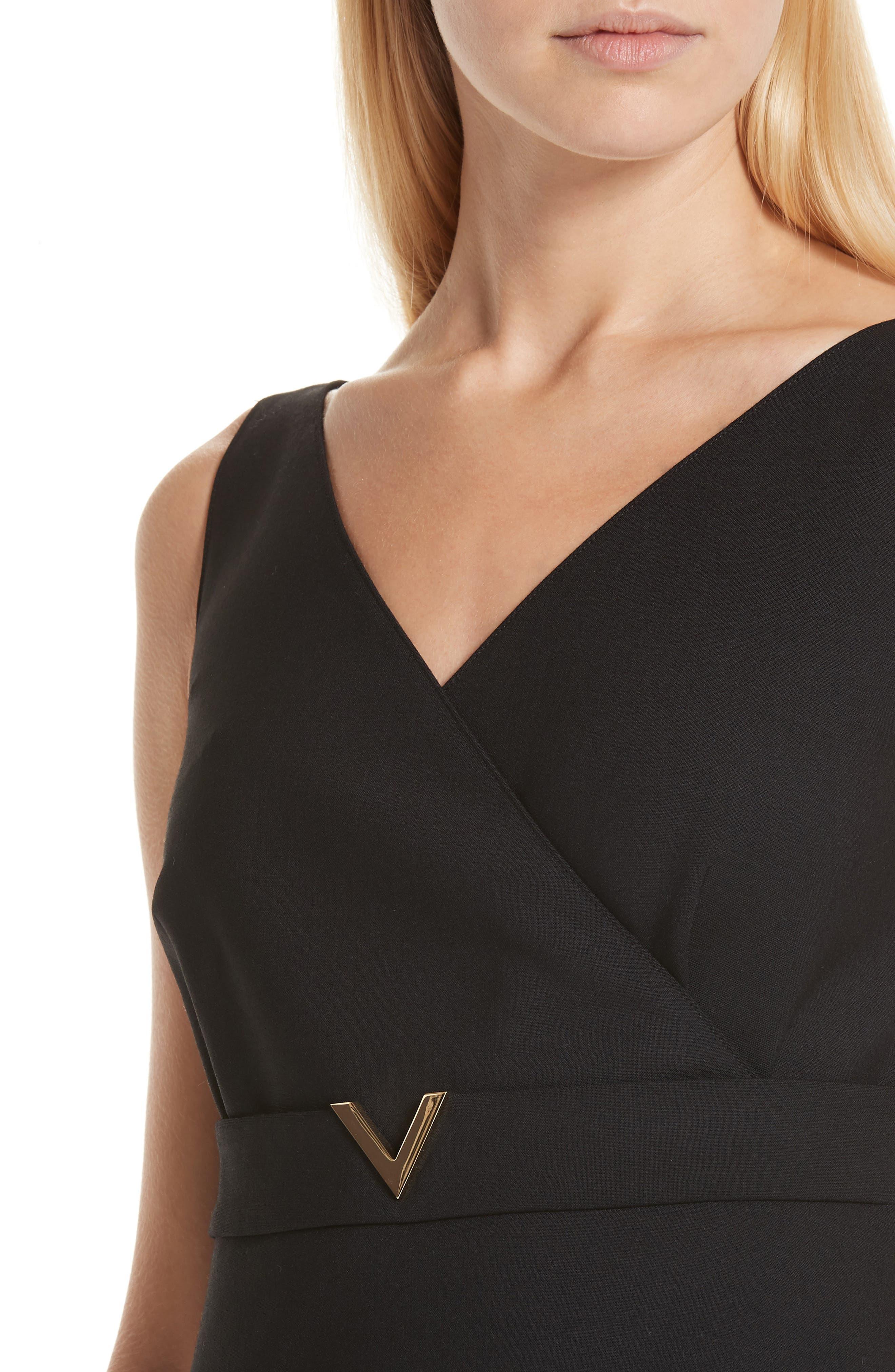V-Hardware Double Crepe Dress,                             Alternate thumbnail 4, color,                             BLACK