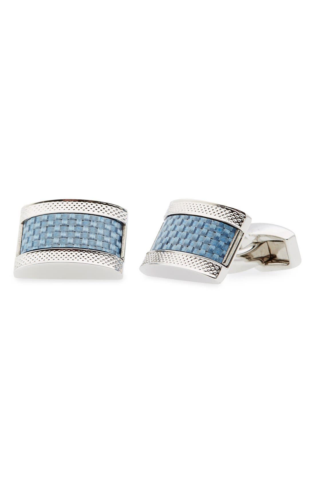 Carbon Fiber Cuff Links,                             Main thumbnail 1, color,                             BLUE