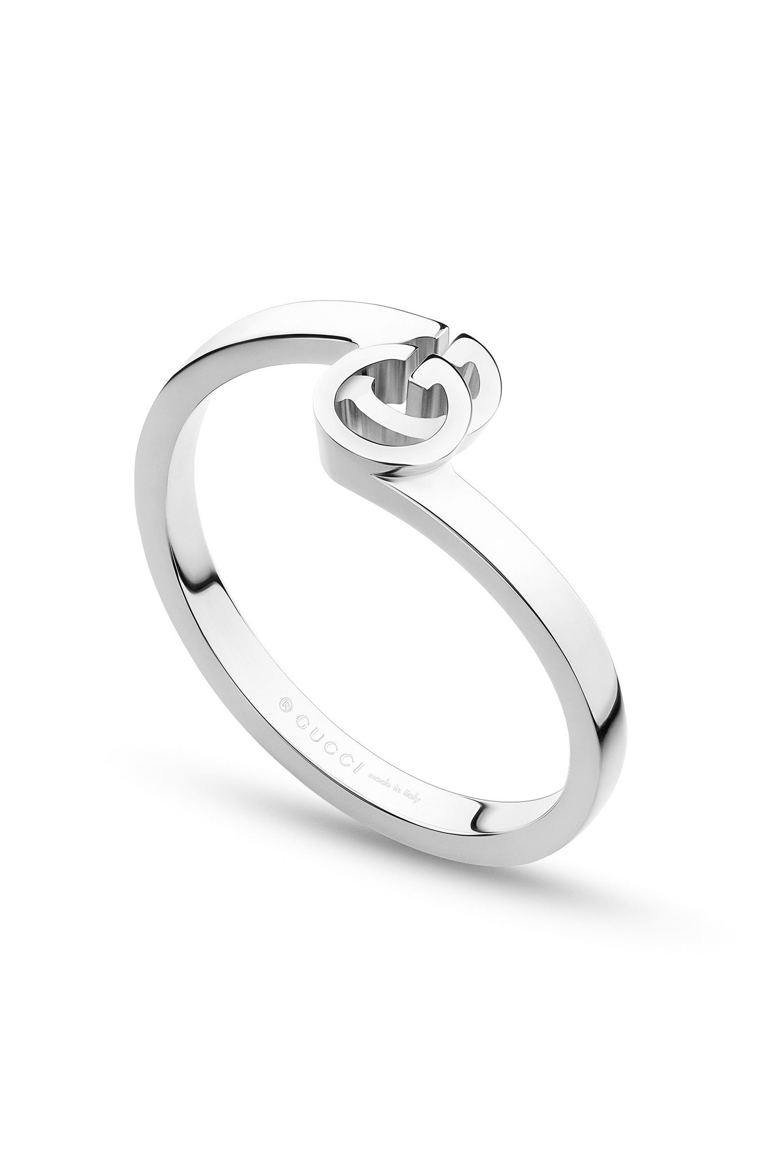 Double-G Stack Ring,                             Main thumbnail 1, color,                             WHITE GOLD