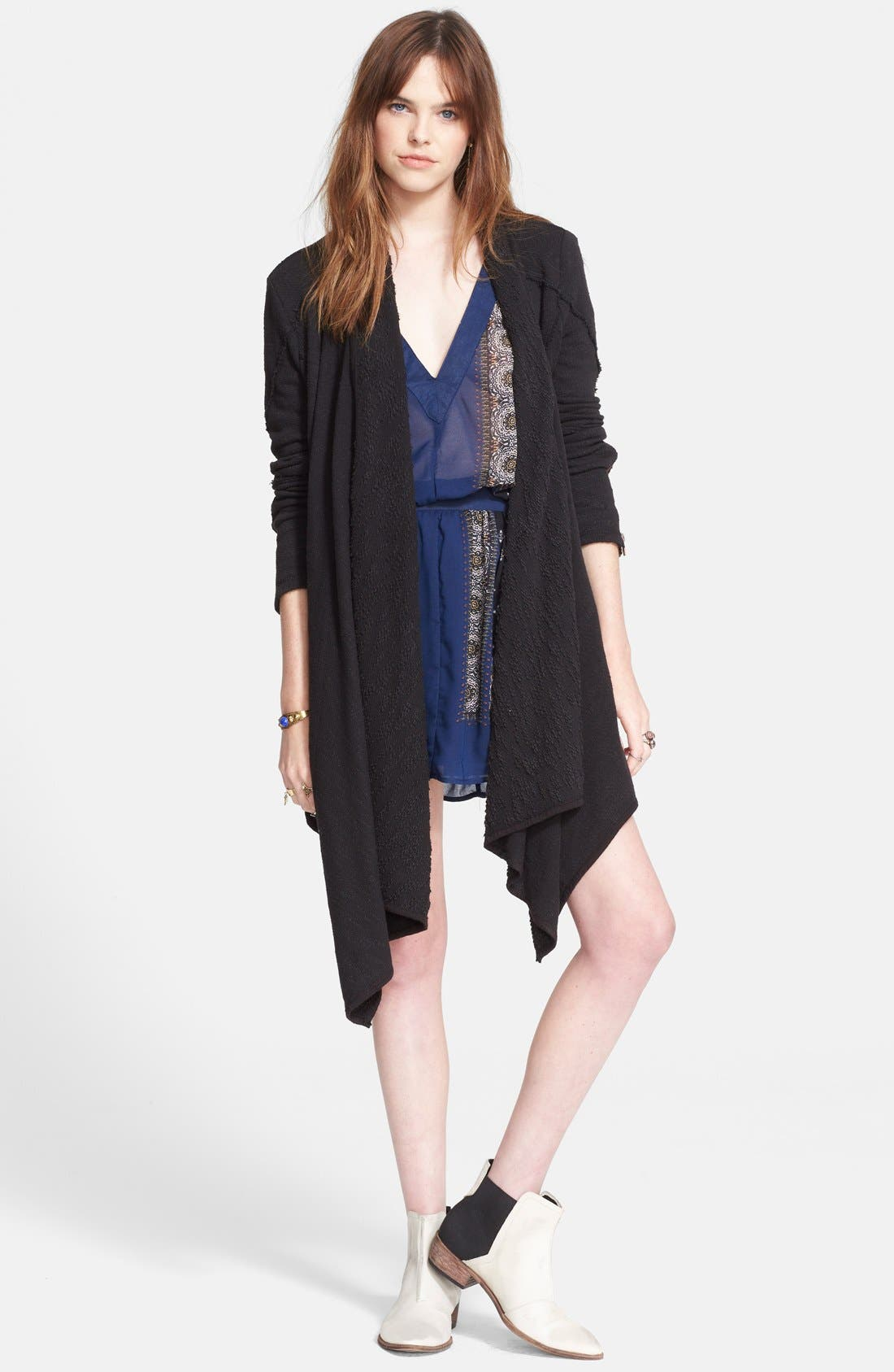 FREE PEOPLE 'In The Loop' Open Front Cardigan, Main, color, 001