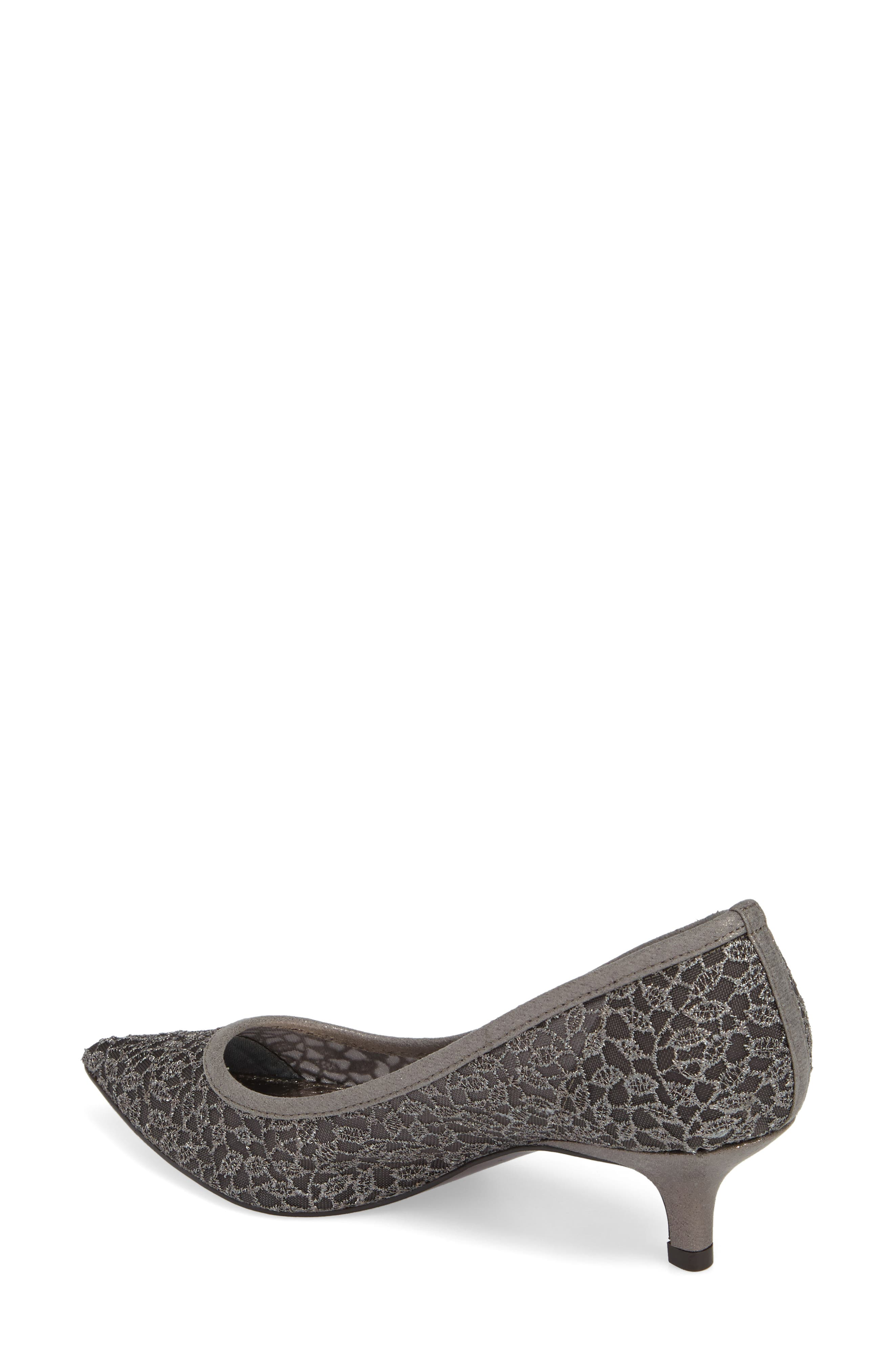 ADRIANNA PAPELL,                             'Lois' Mesh Pump,                             Alternate thumbnail 2, color,                             GUNMETAL LACE FABRIC
