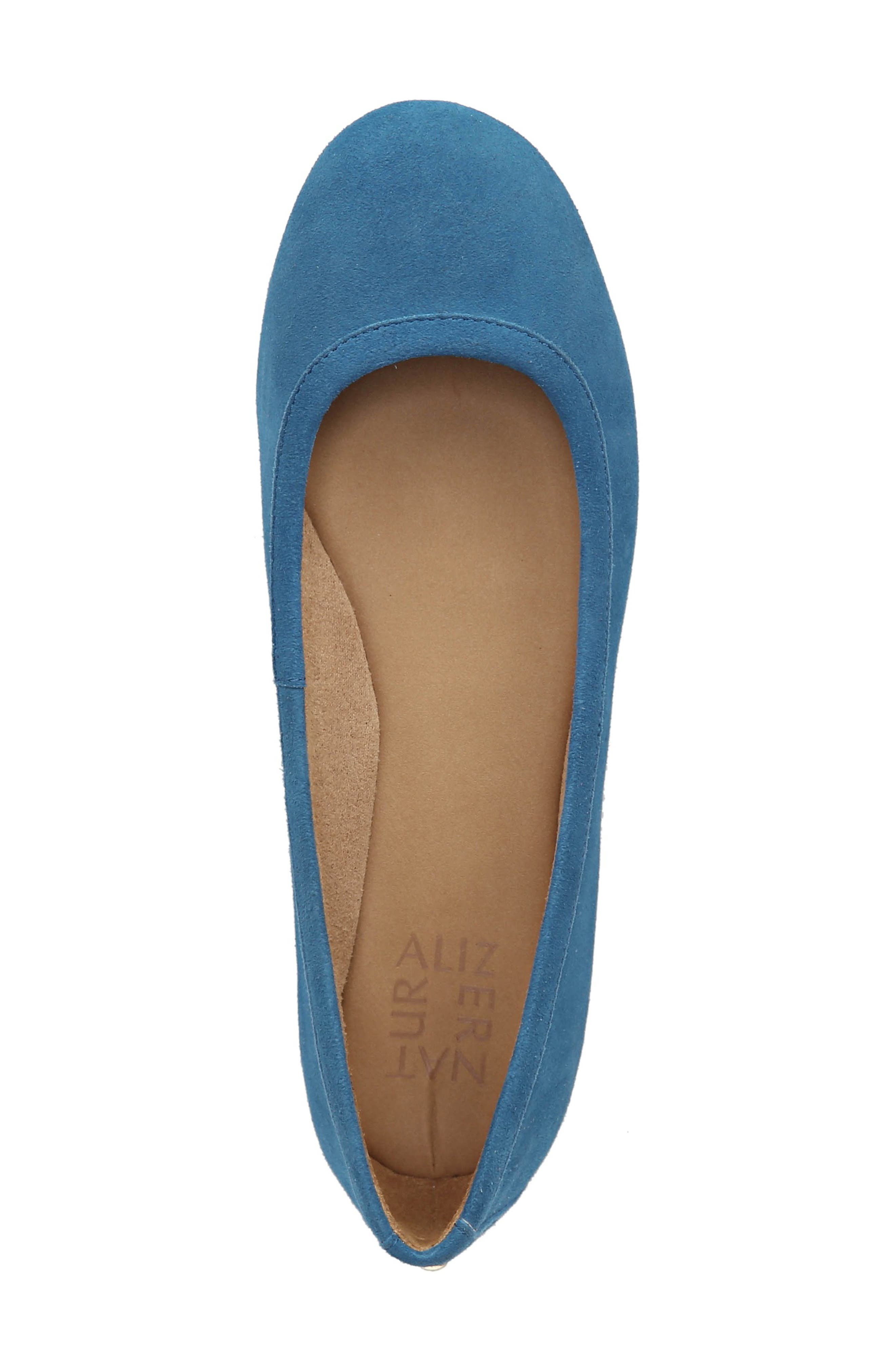 Brittany Flat,                             Alternate thumbnail 5, color,                             ADMIRAL BLUE LEATHER