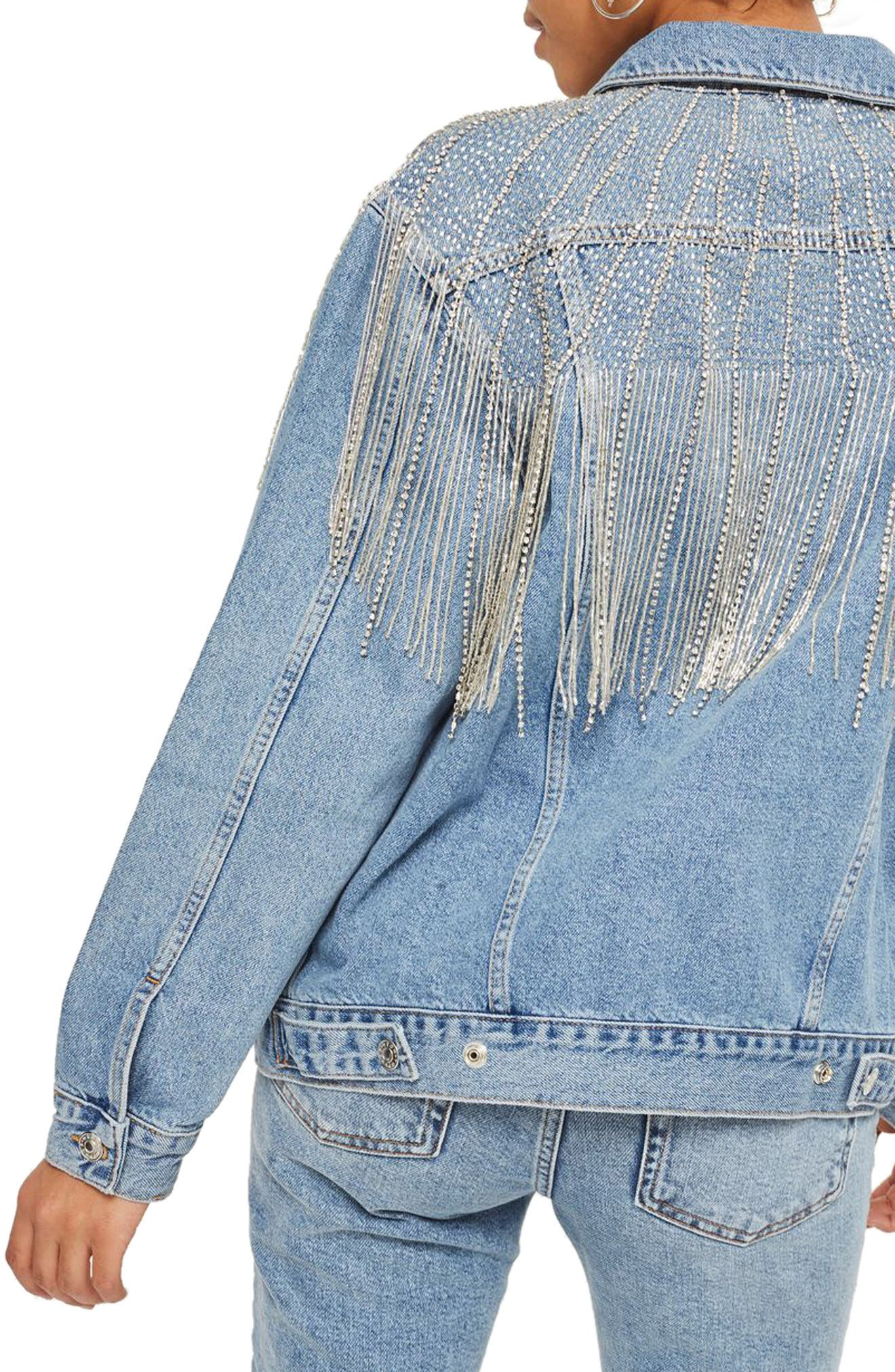 Dolly Sequin Fringe Denim Jacket,                             Alternate thumbnail 2, color,                             400