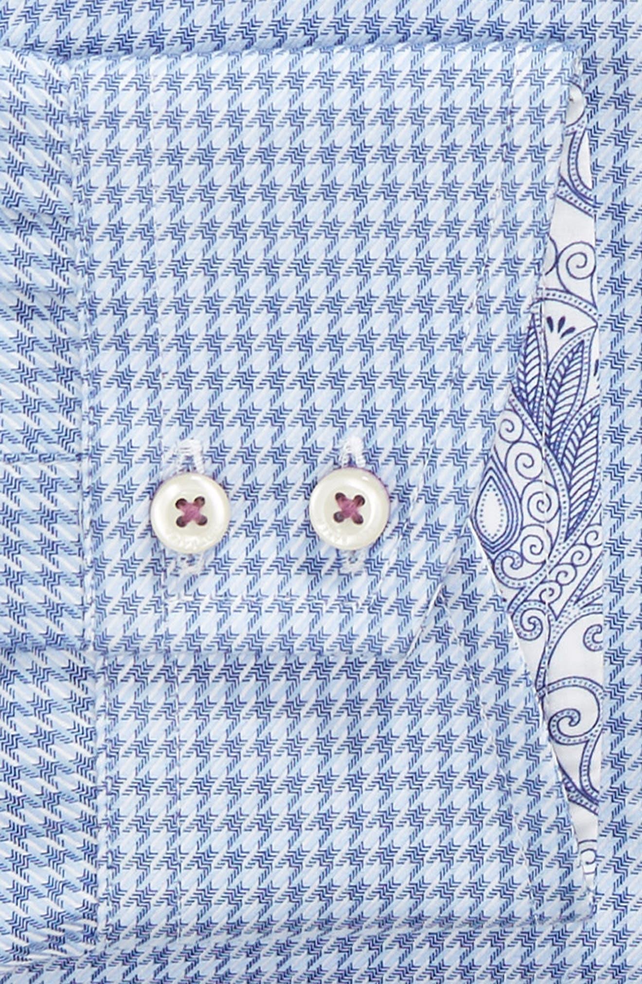 Franks Trim Fit Houndstooth Dress Shirt,                             Alternate thumbnail 6, color,                             BLUE