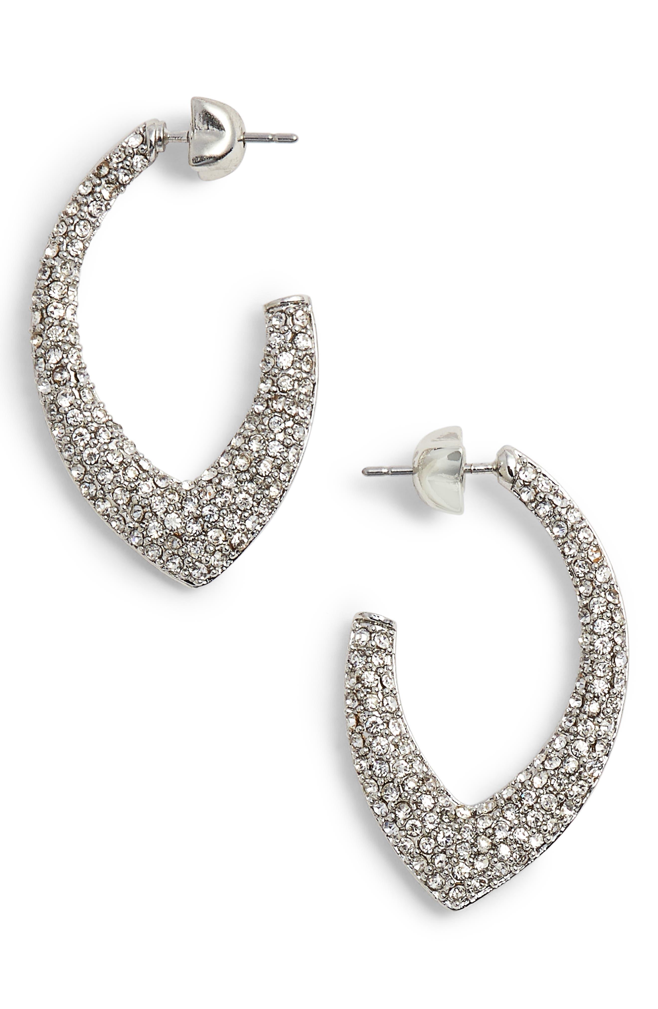 Pavé Marquise Hoop Earrings,                             Main thumbnail 1, color,                             040