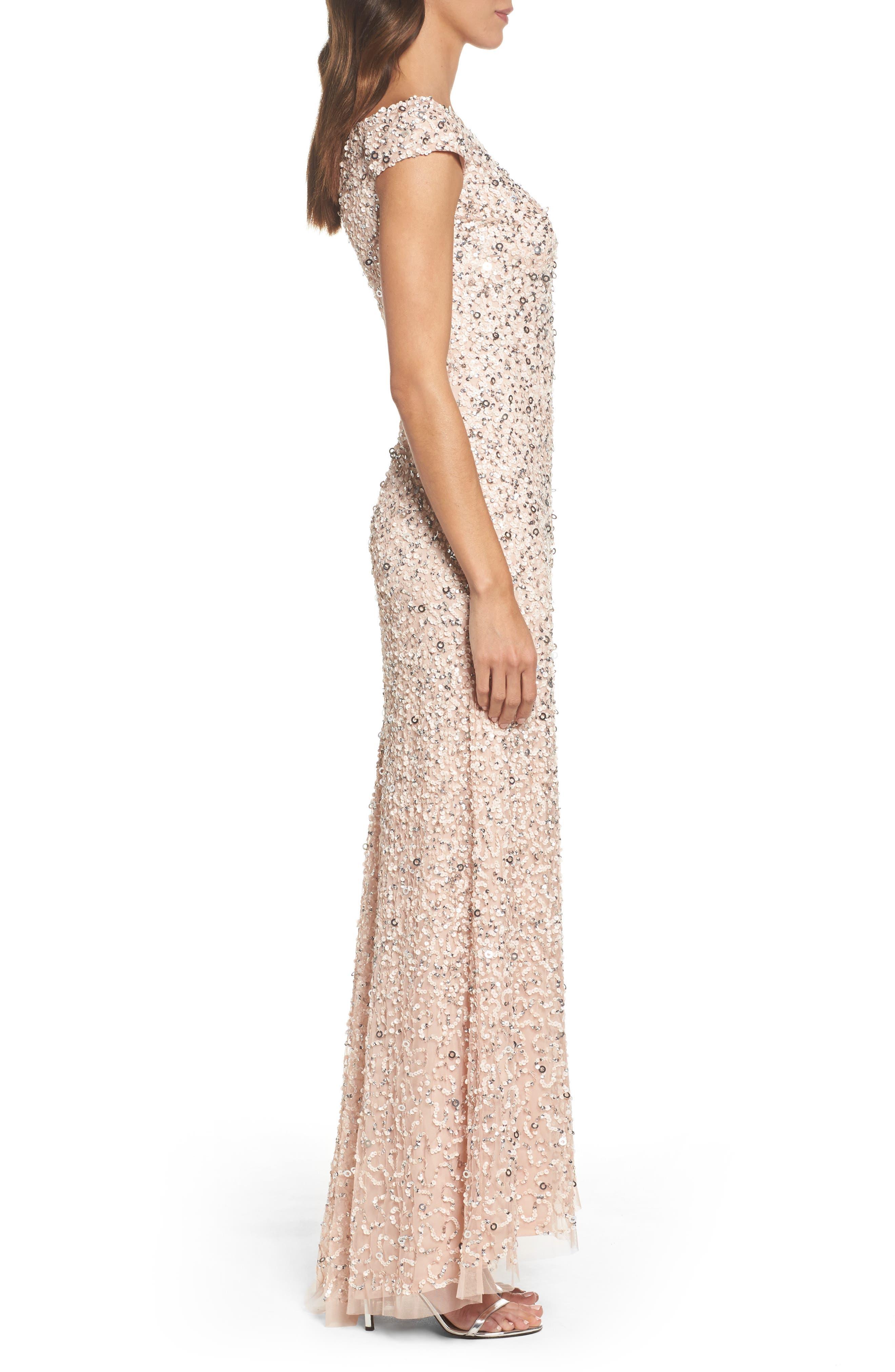 Sequin Mesh Gown,                             Alternate thumbnail 15, color,