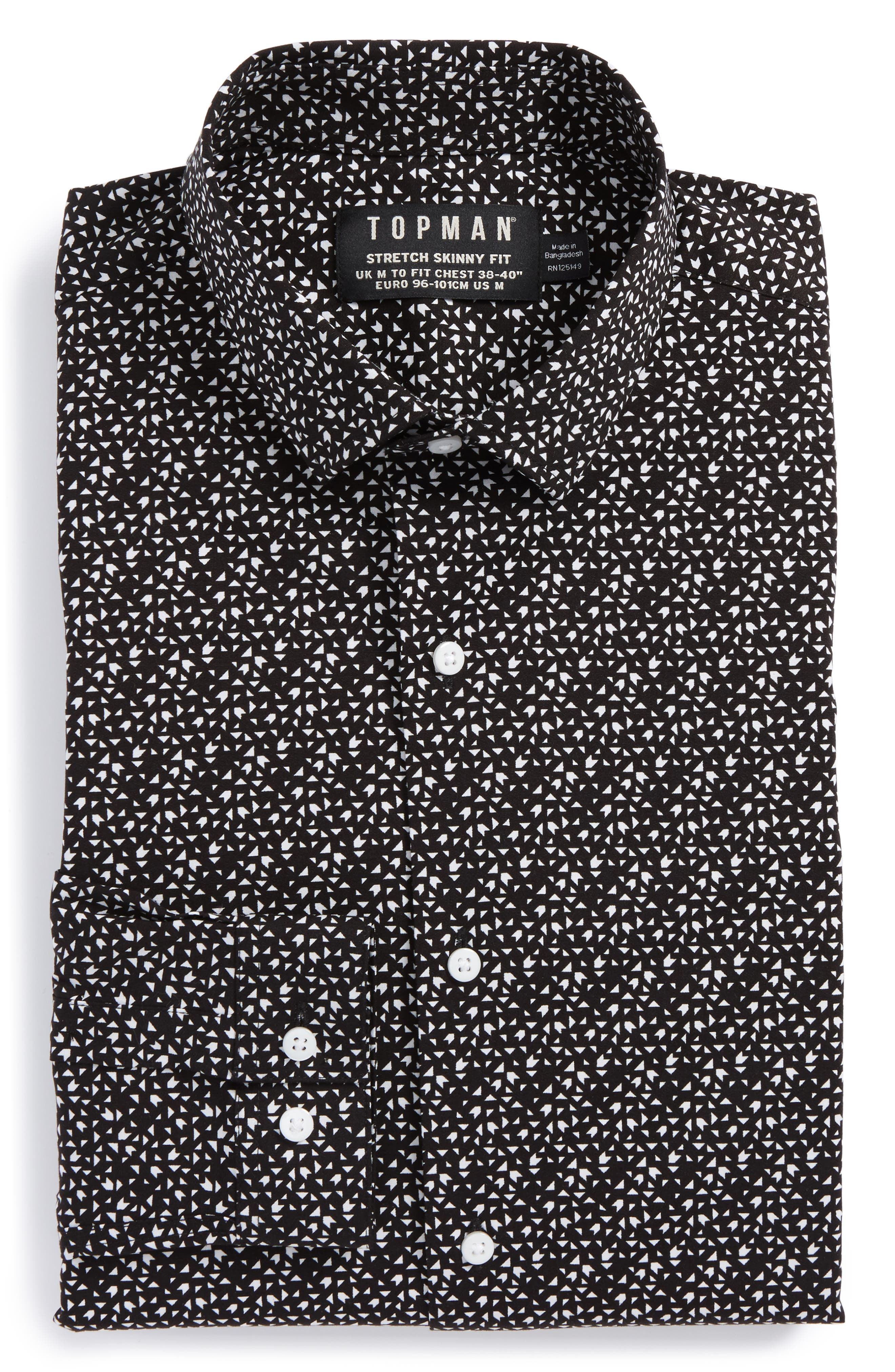 Skinny Fit Geo Print Stretch Woven Shirt,                             Alternate thumbnail 4, color,                             002