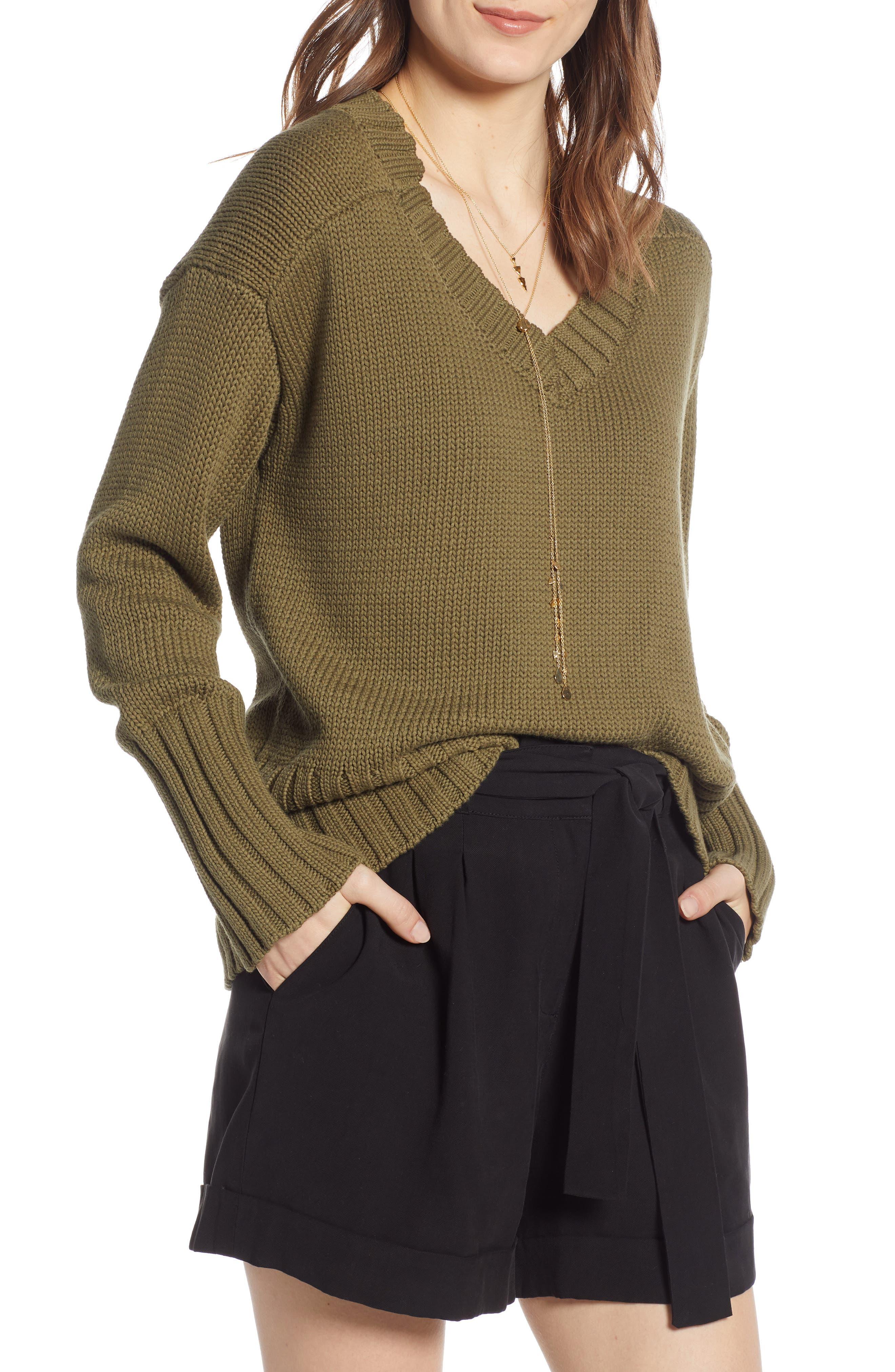 V-Neck Sweater, Main, color, OLIVE BURNT