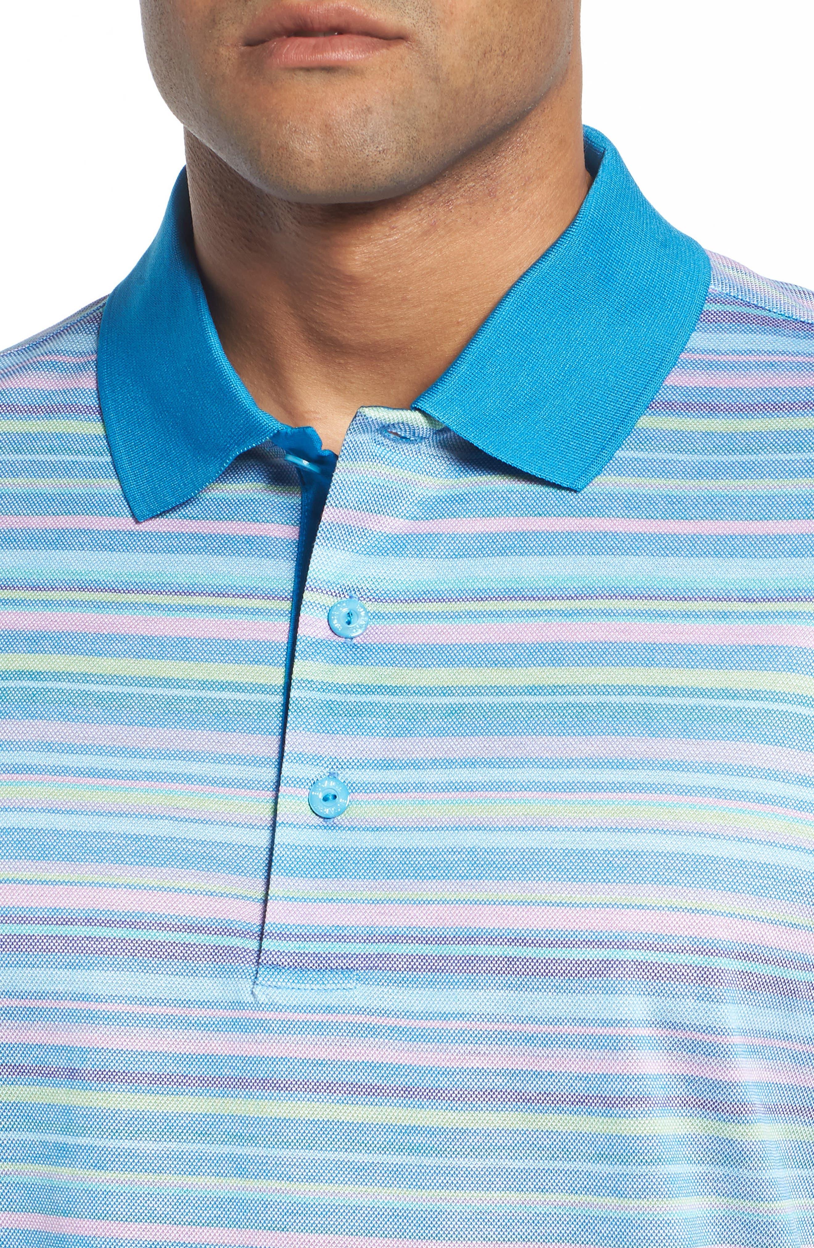 Stripe Mercerized Cotton Polo,                             Alternate thumbnail 4, color,                             459