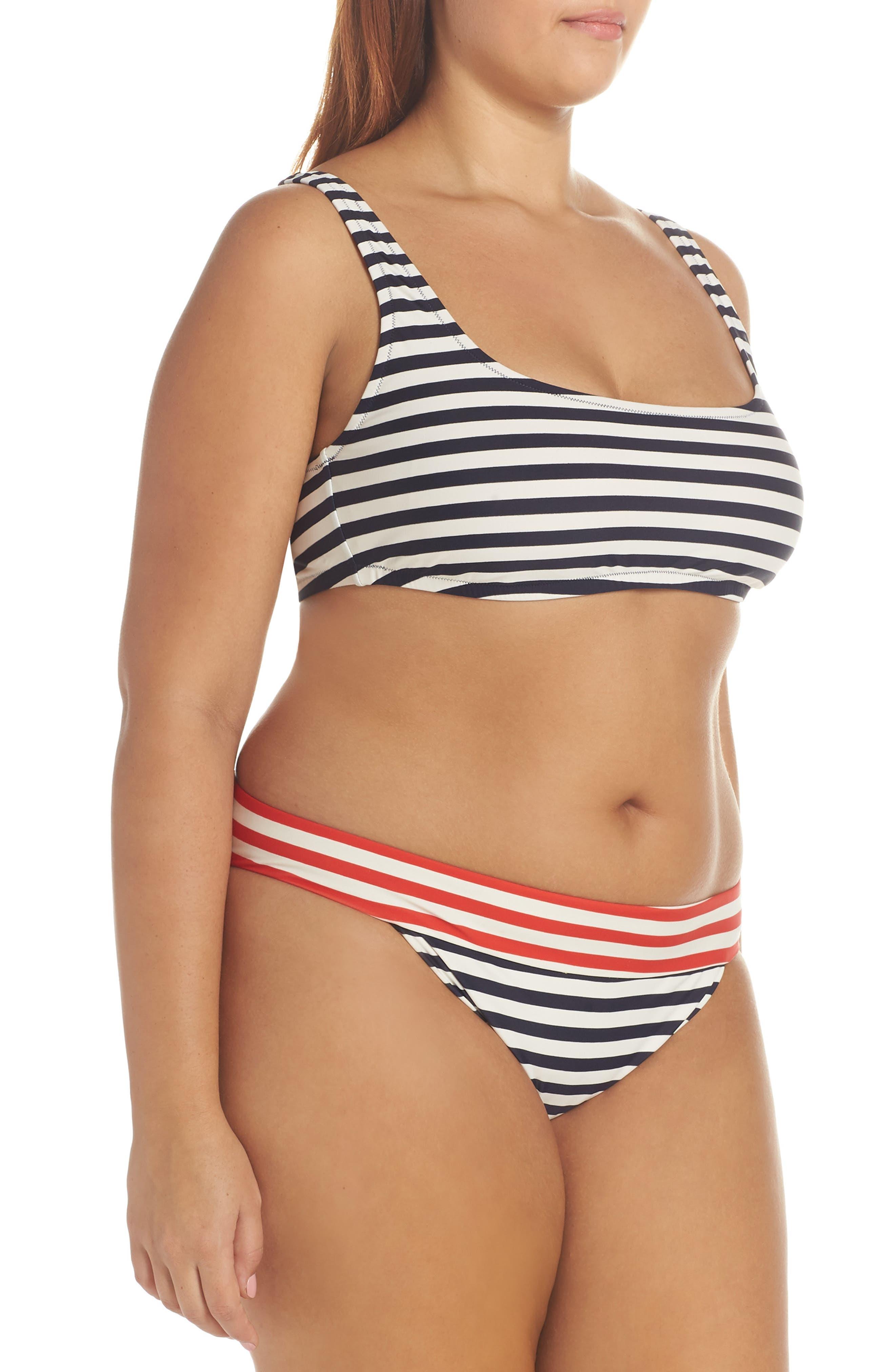 Stripe Banded Bikini Bottoms,                             Alternate thumbnail 9, color,                             NAVY VIVID FLAME