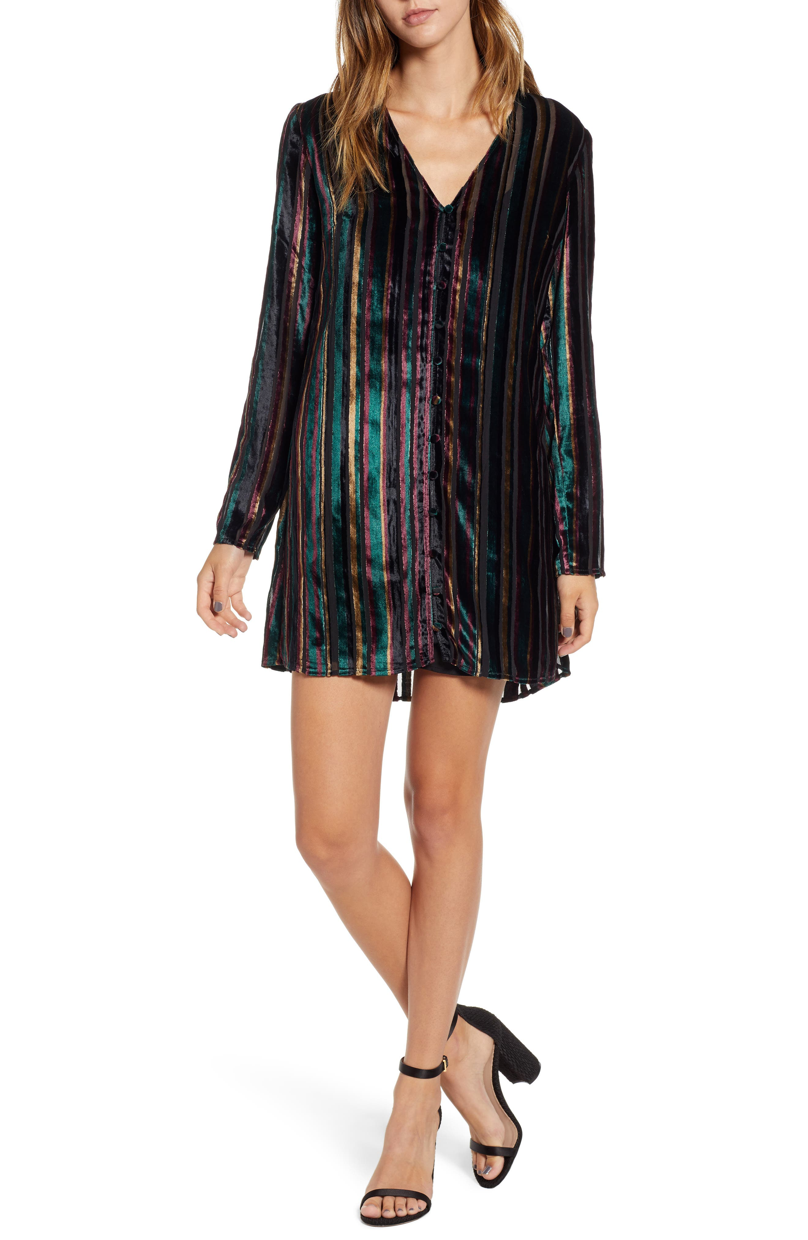 Leith Long Sleeve Button Front Dress, Black