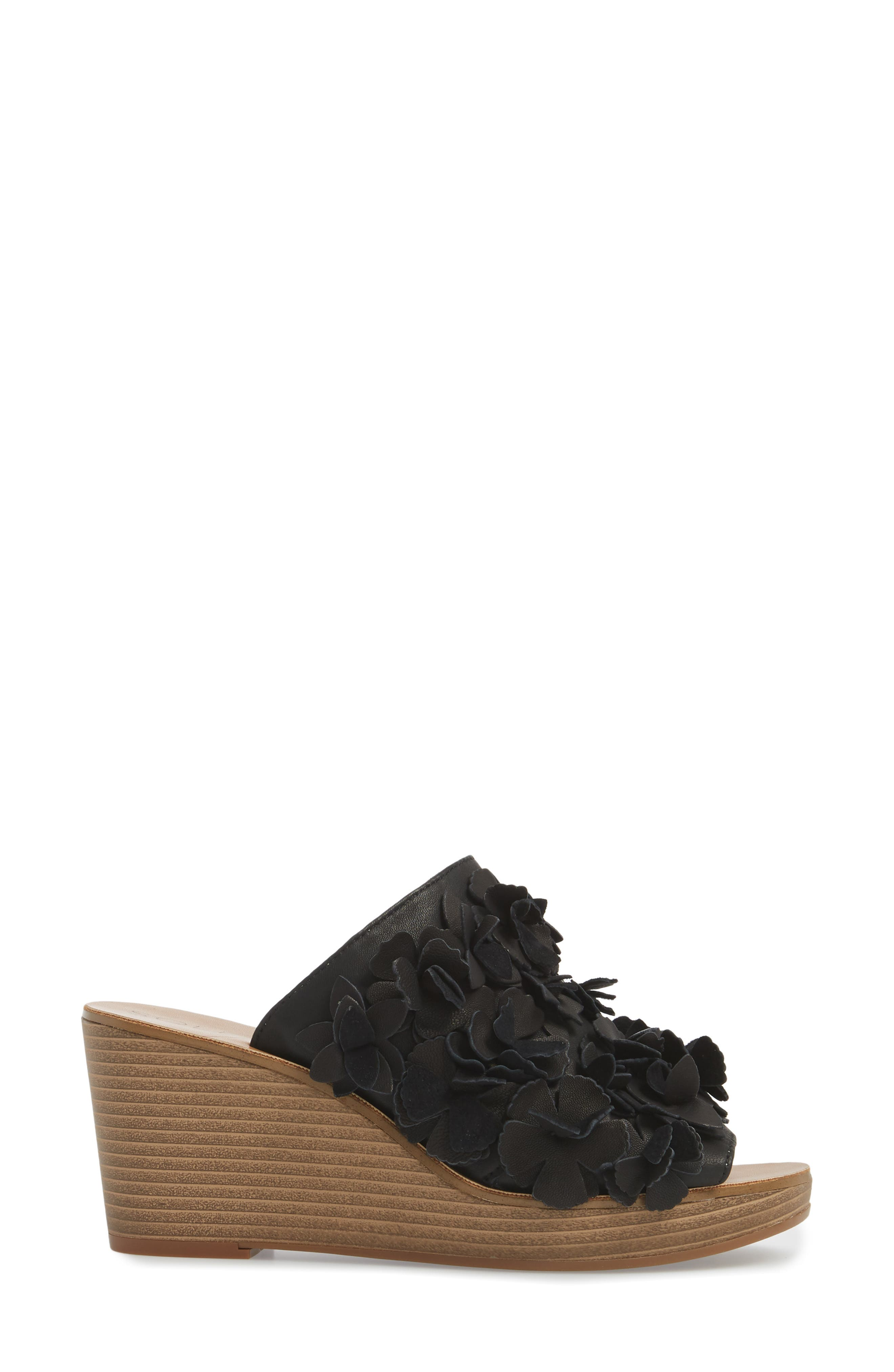 Poppie Wedge Sandal,                             Alternate thumbnail 3, color,                             BLACK