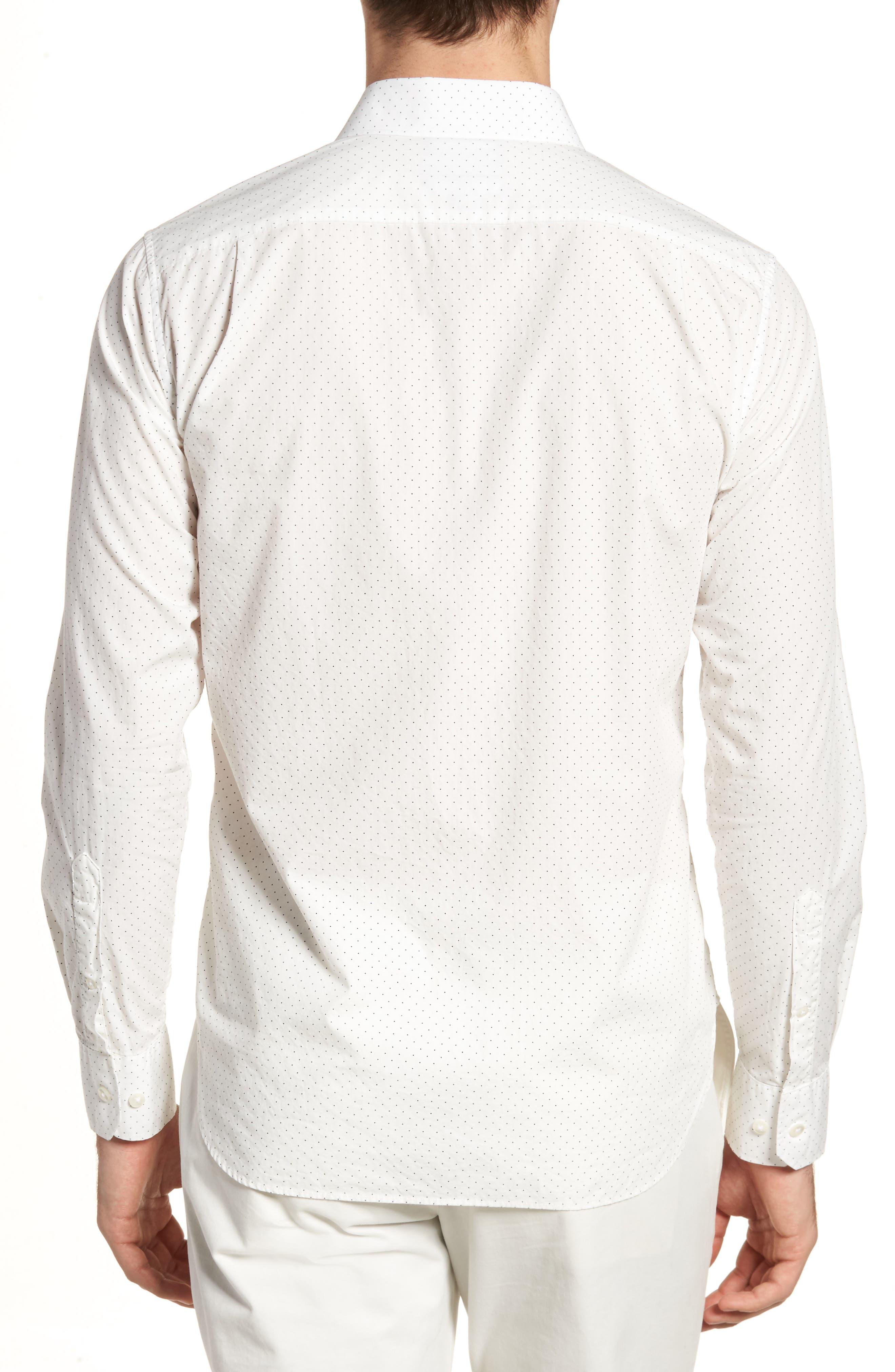 Unbutton Down 2.0 Slim Fit Dot Sport Shirt,                             Alternate thumbnail 2, color,                             100