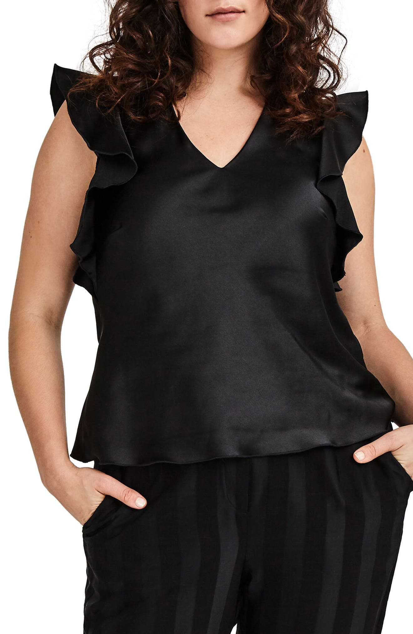 Black Satin Ruffle Top,                             Main thumbnail 1, color,                             001