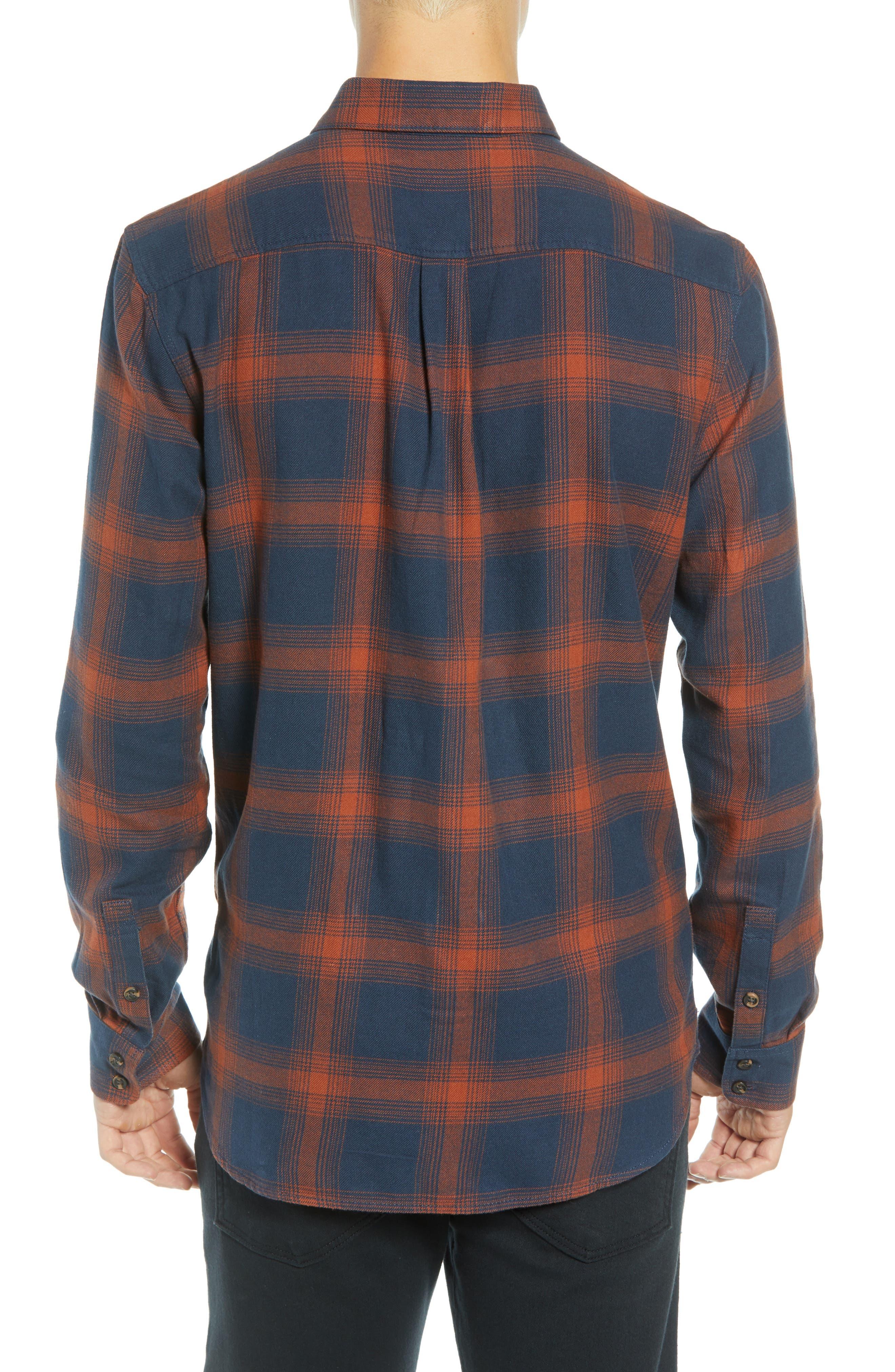 Monterey III Plaid Flannel Shirt,                             Alternate thumbnail 3, color,                             DRESS BLUES/ SEQUOIA
