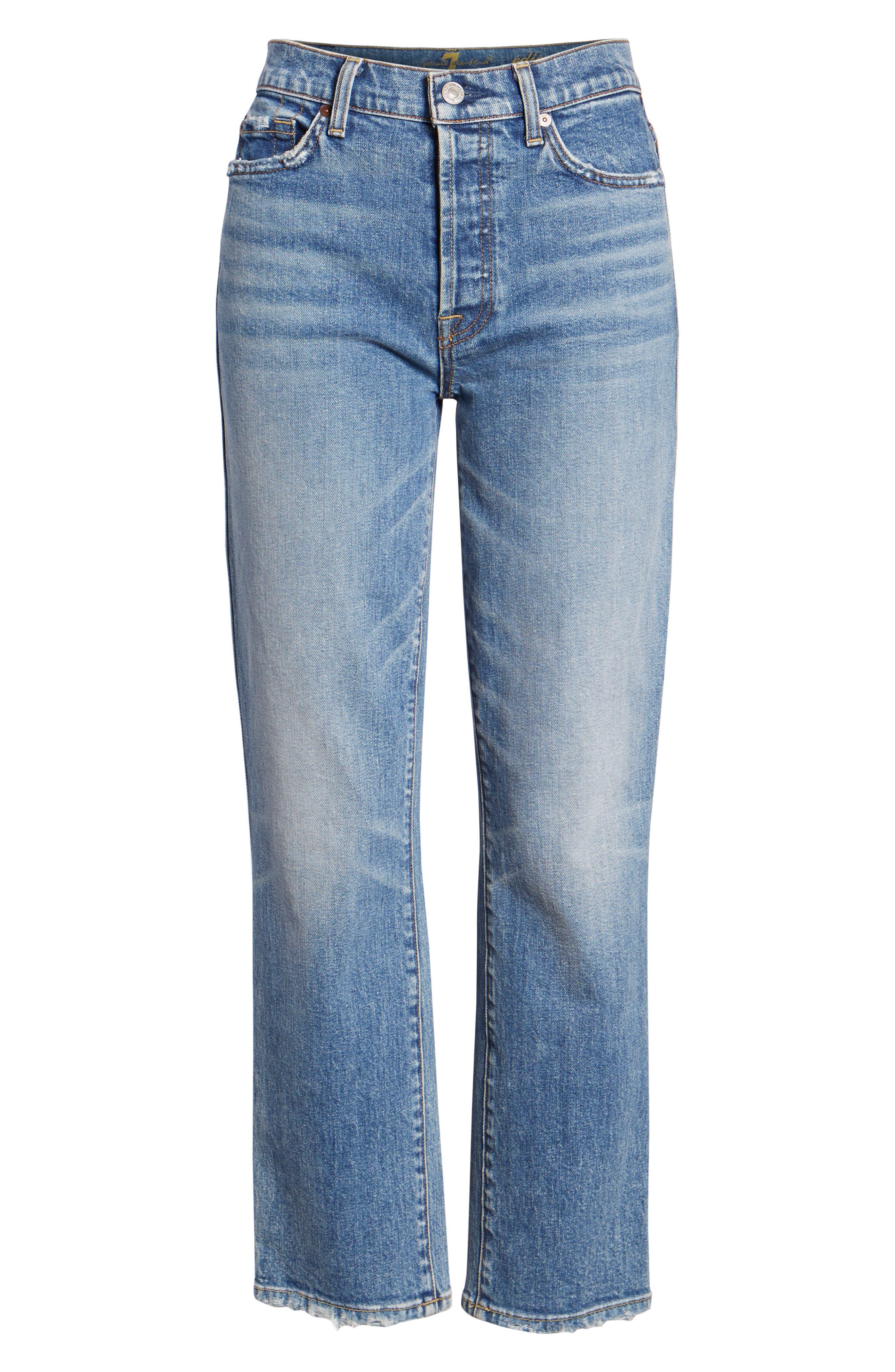 Edie High Waist Crop Straight Leg Jeans,                             Alternate thumbnail 27, color,