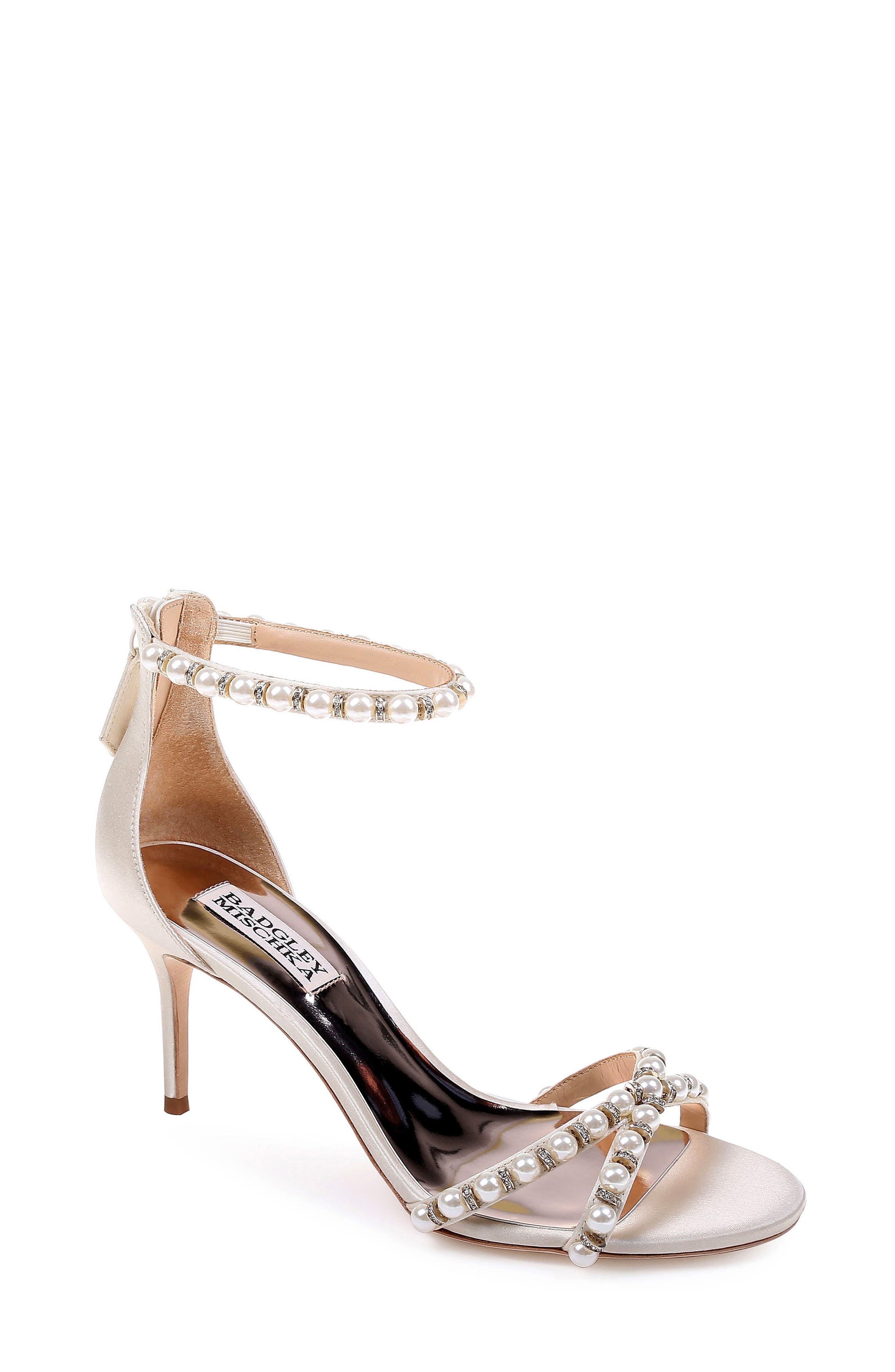 Badgley Mischka Hannah Embellished Ankle Strap Sandal, White