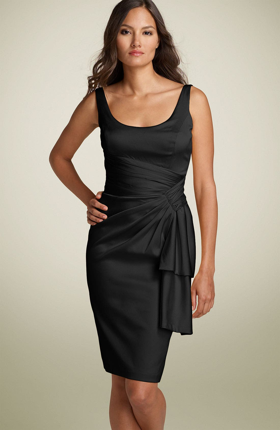 MAGGY LONDON Sleeveless Stretch Satin Sheath Dress, Main, color, 001