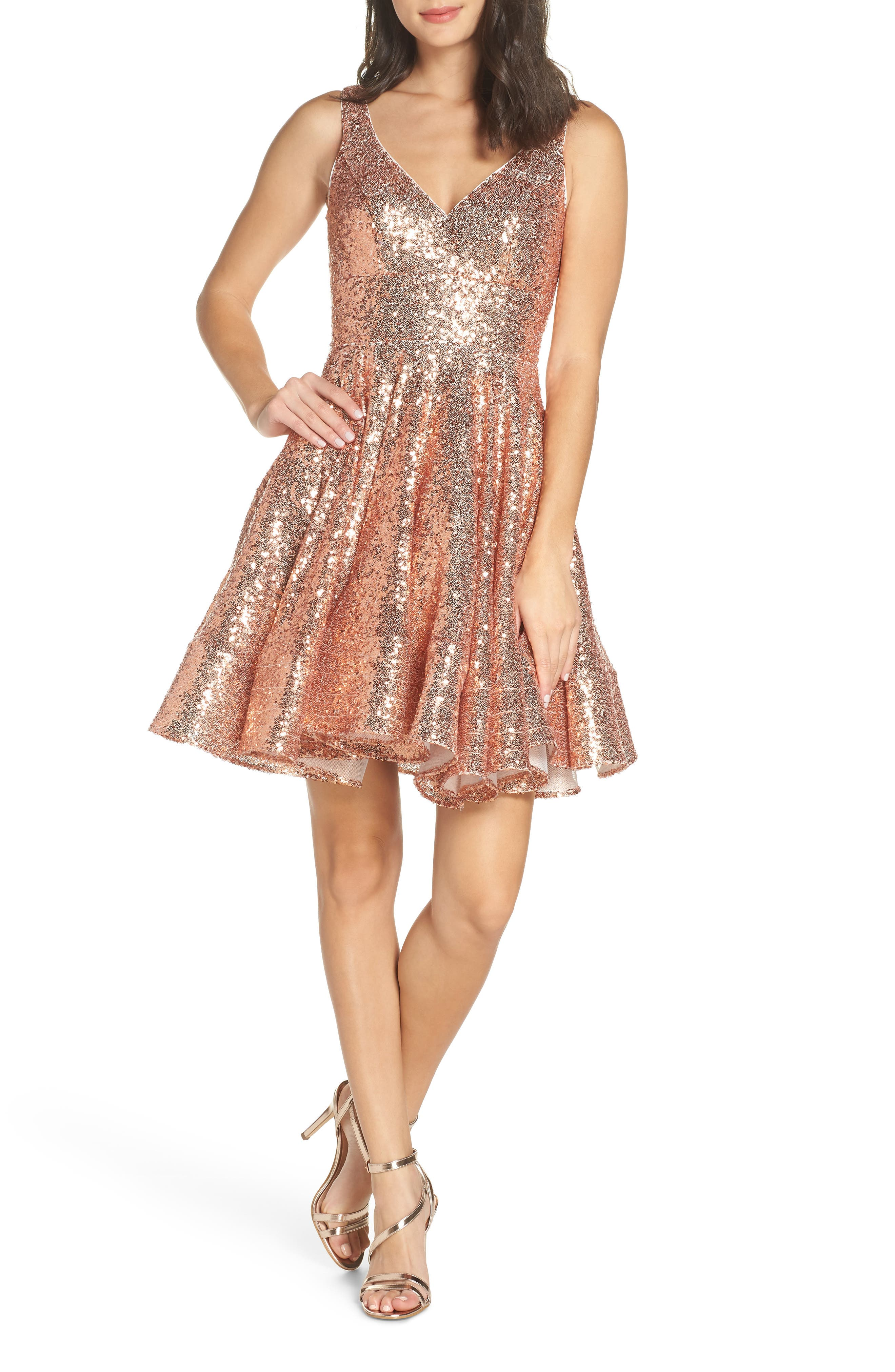 Ieena For MAC Duggal Double V-Neck Fit & Flare Party Dress, Pink