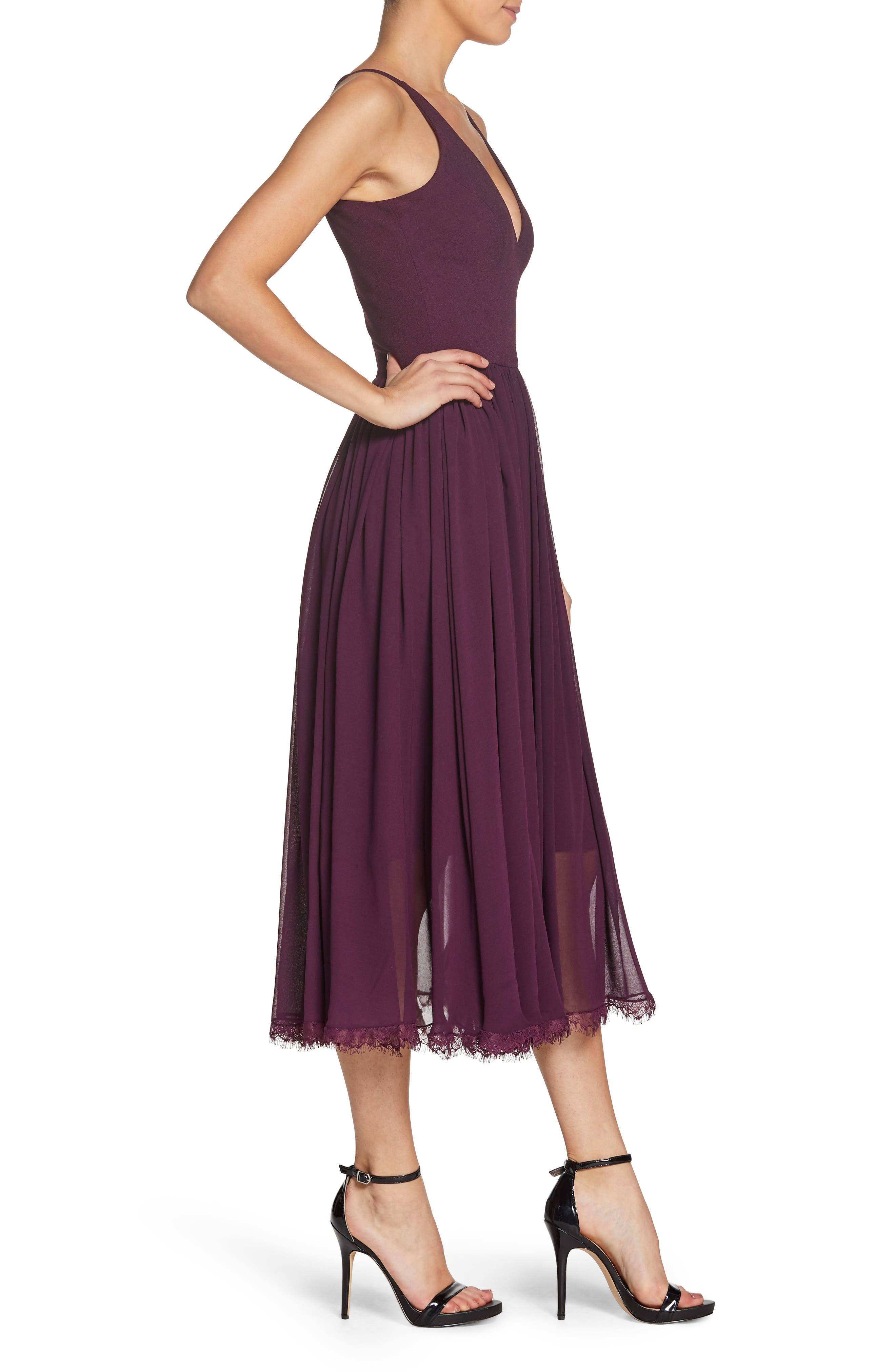 Alicia Mixed Media Midi Dress,                             Alternate thumbnail 3, color,                             PLUM