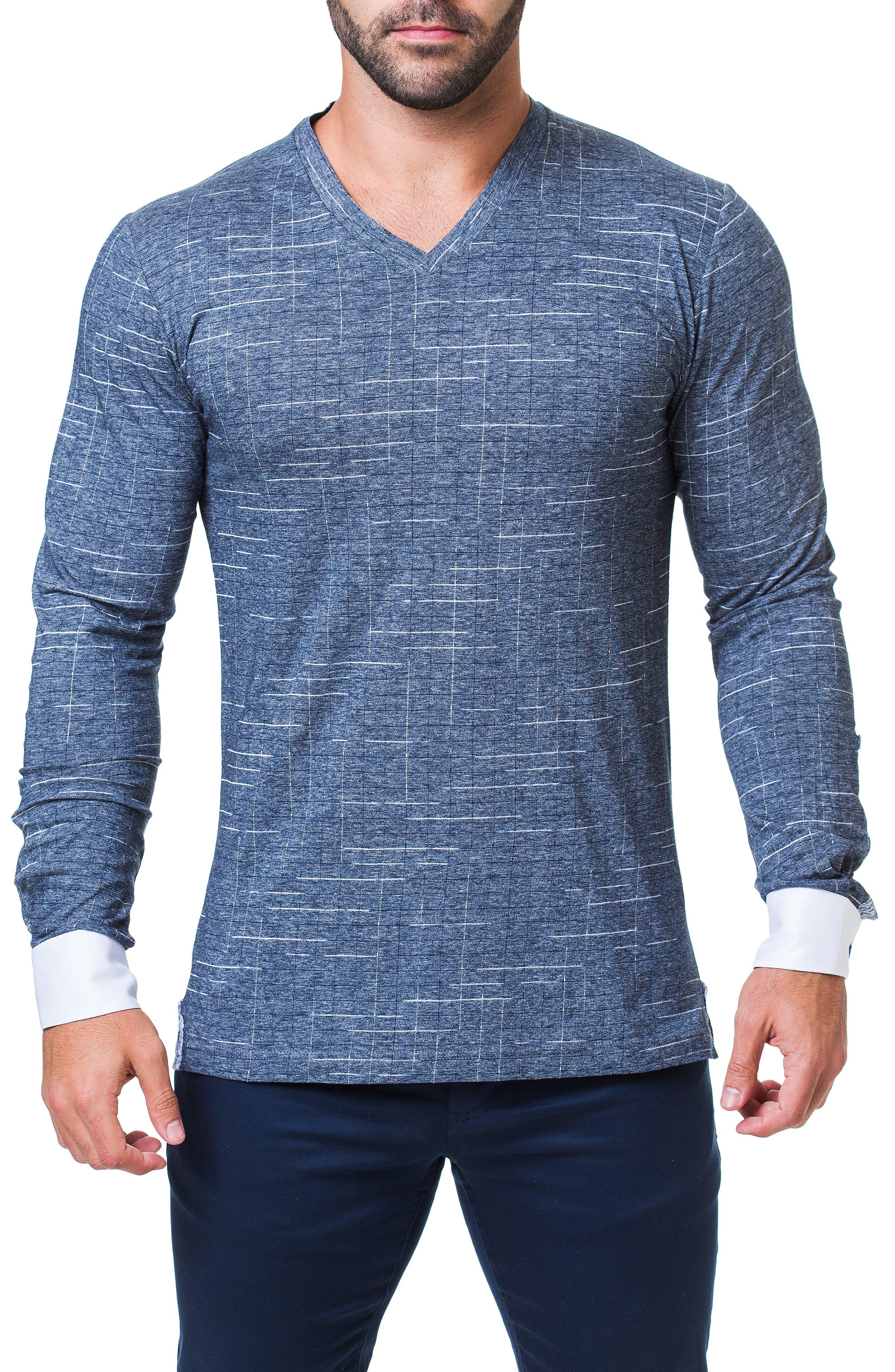 Edison Trim Fit Check T-Shirt, Main, color, BLUE