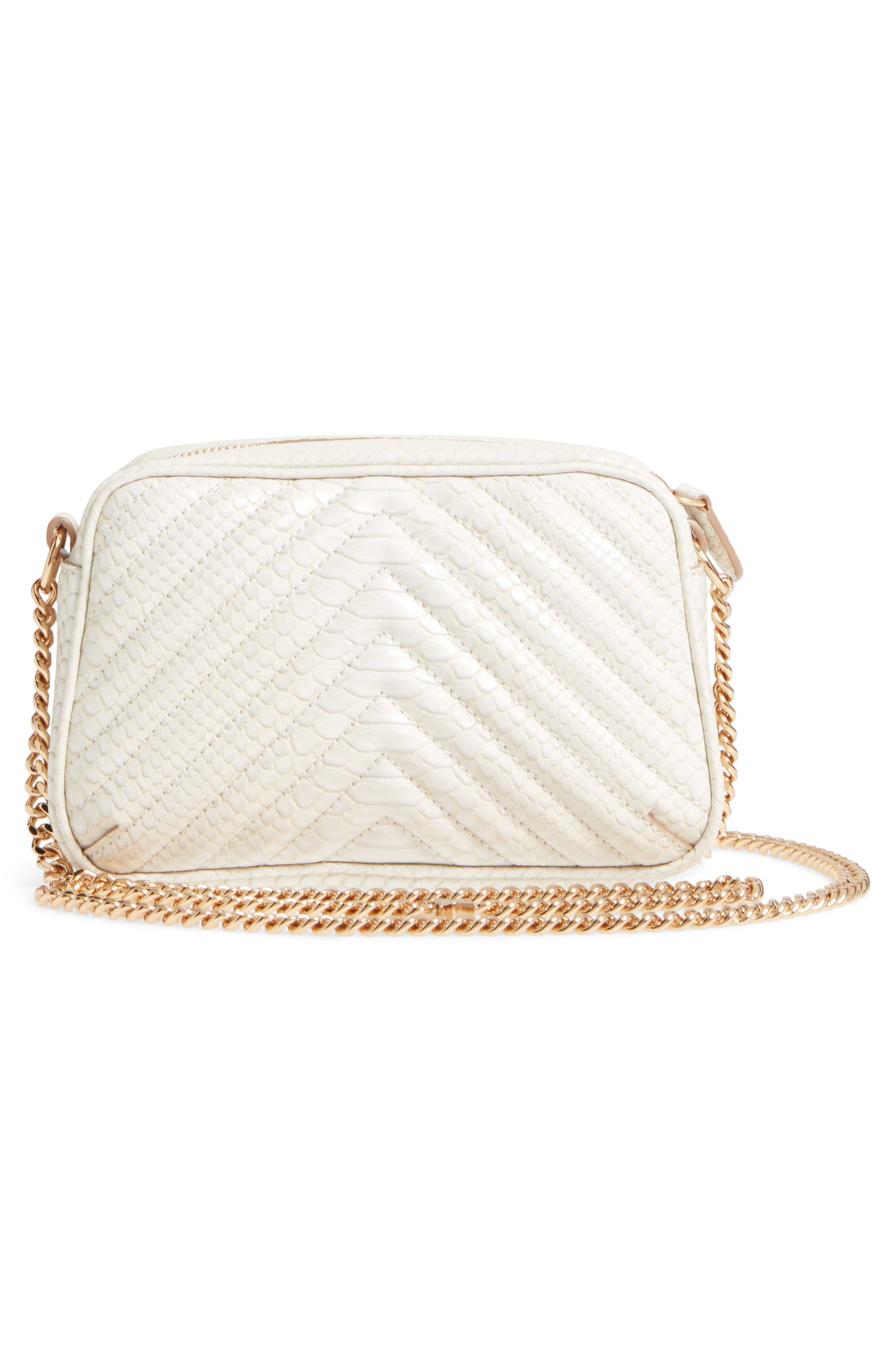 Mini Star Quilted Faux Leather Camera Bag,                             Alternate thumbnail 3, color,                             IVORY