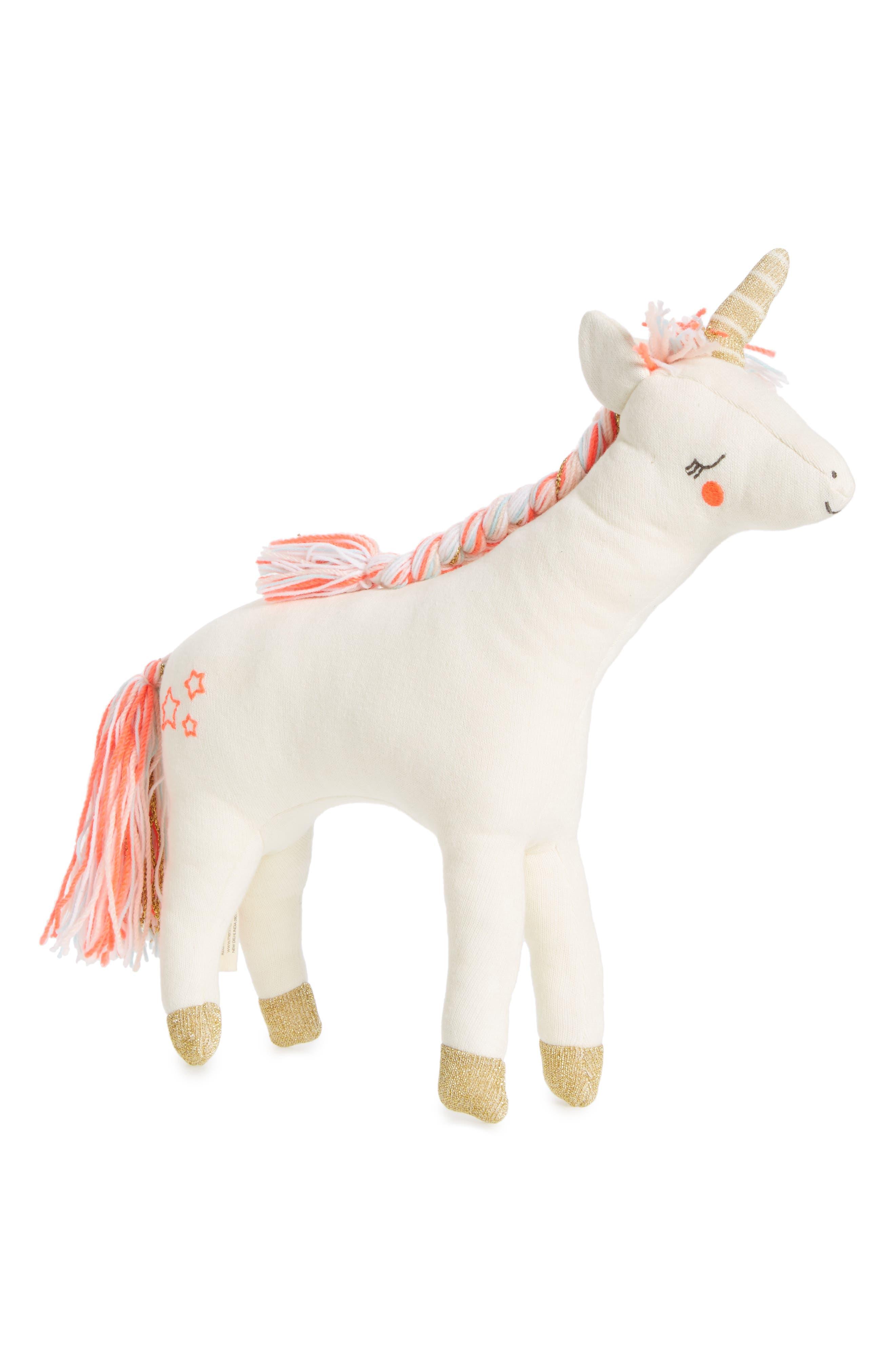 Knit Organic Cotton Unicorn Cushion/Toy,                             Main thumbnail 1, color,                             650