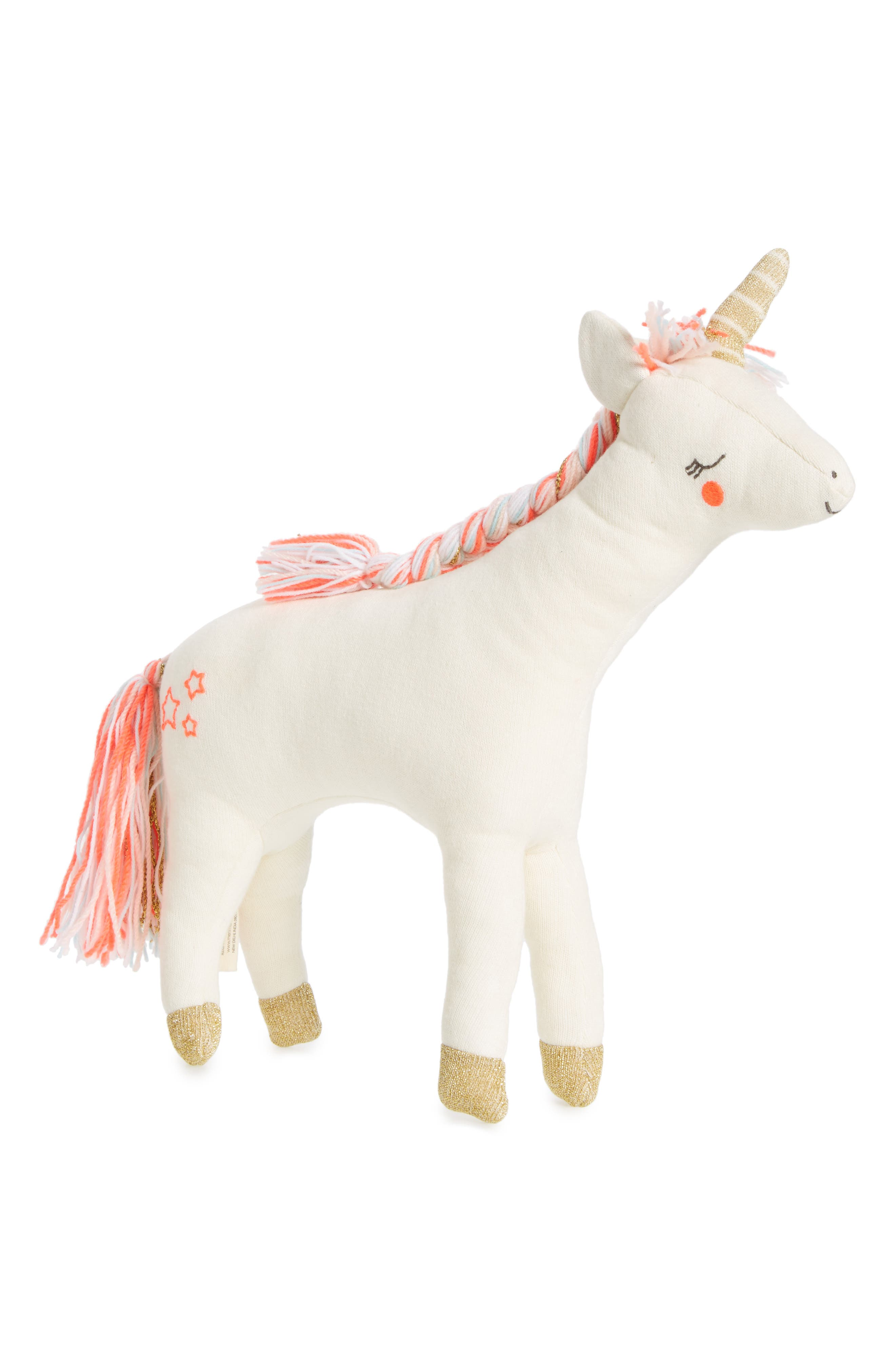 Knit Organic Cotton Unicorn Cushion/Toy,                         Main,                         color, 650