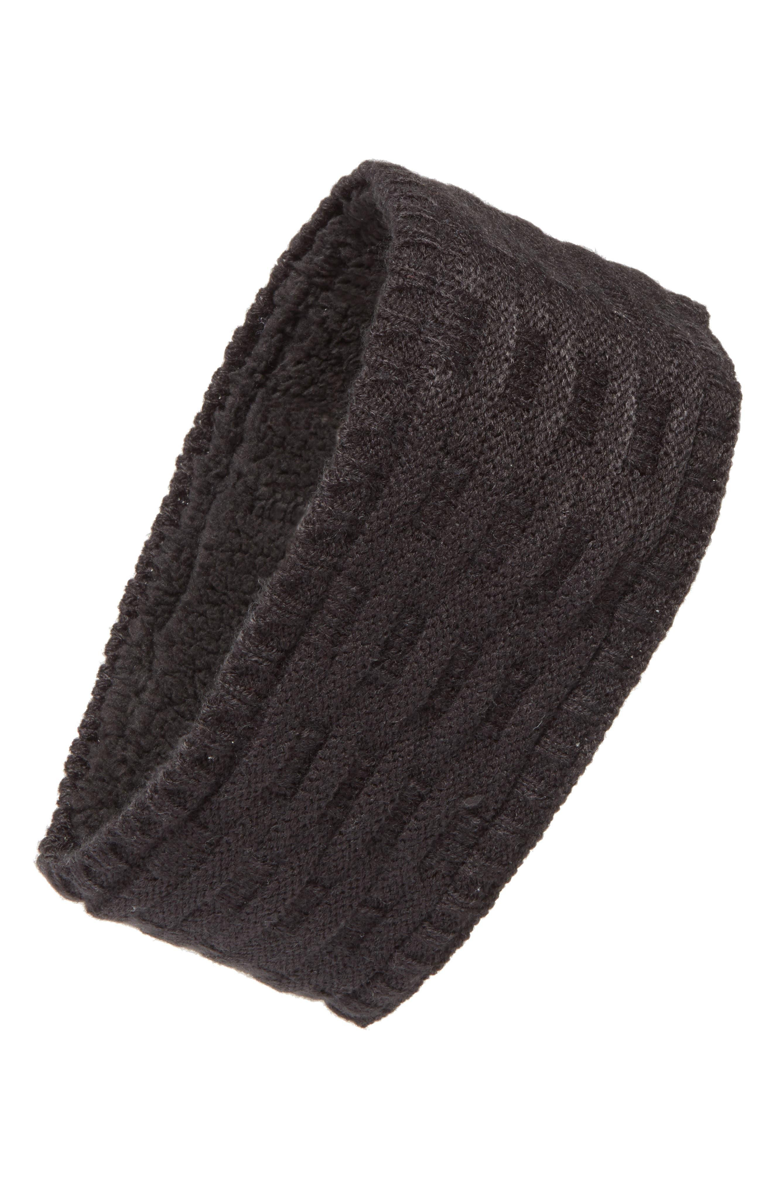 Cross Cable Knit Headband,                             Main thumbnail 1, color,                             001