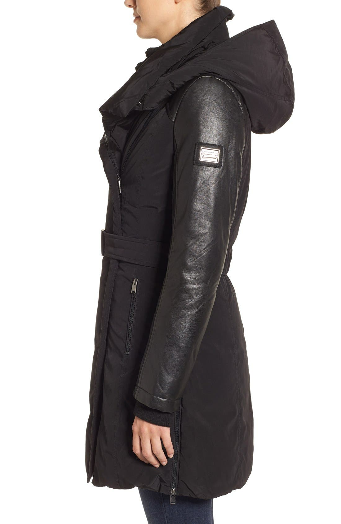Asymmetrical Hooded Down Coat with Genuine Leather Trim,                             Alternate thumbnail 3, color,                             001