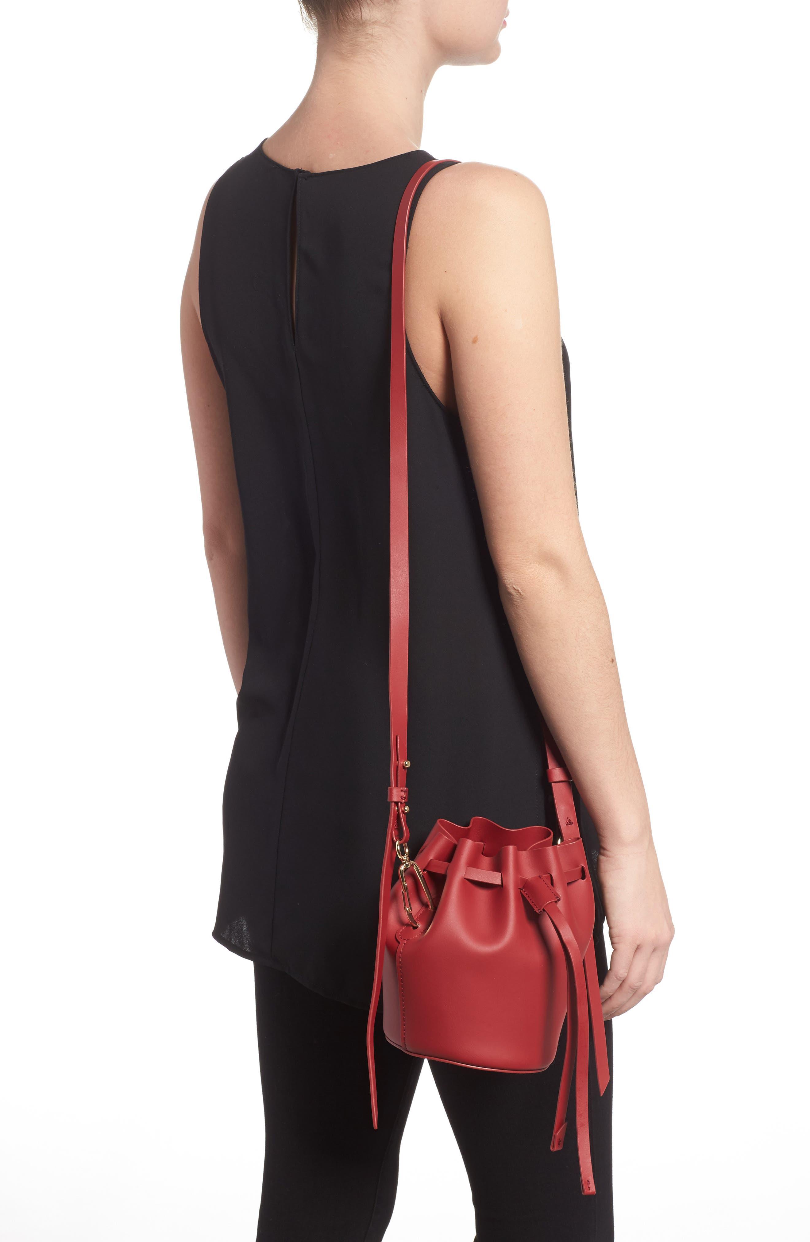 Mini Belay Calfskin Leather Drawstring Bag,                             Alternate thumbnail 6, color,