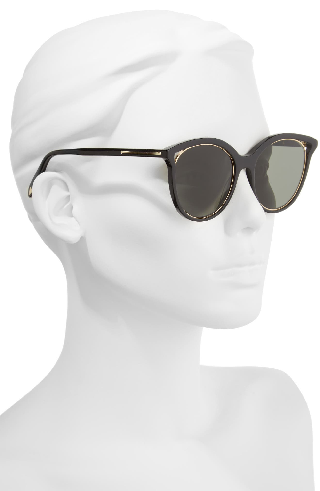 Cutaway Kitten 54mm Cat Eye Sunglasses,                             Alternate thumbnail 2, color,                             BLACK/ GOLD