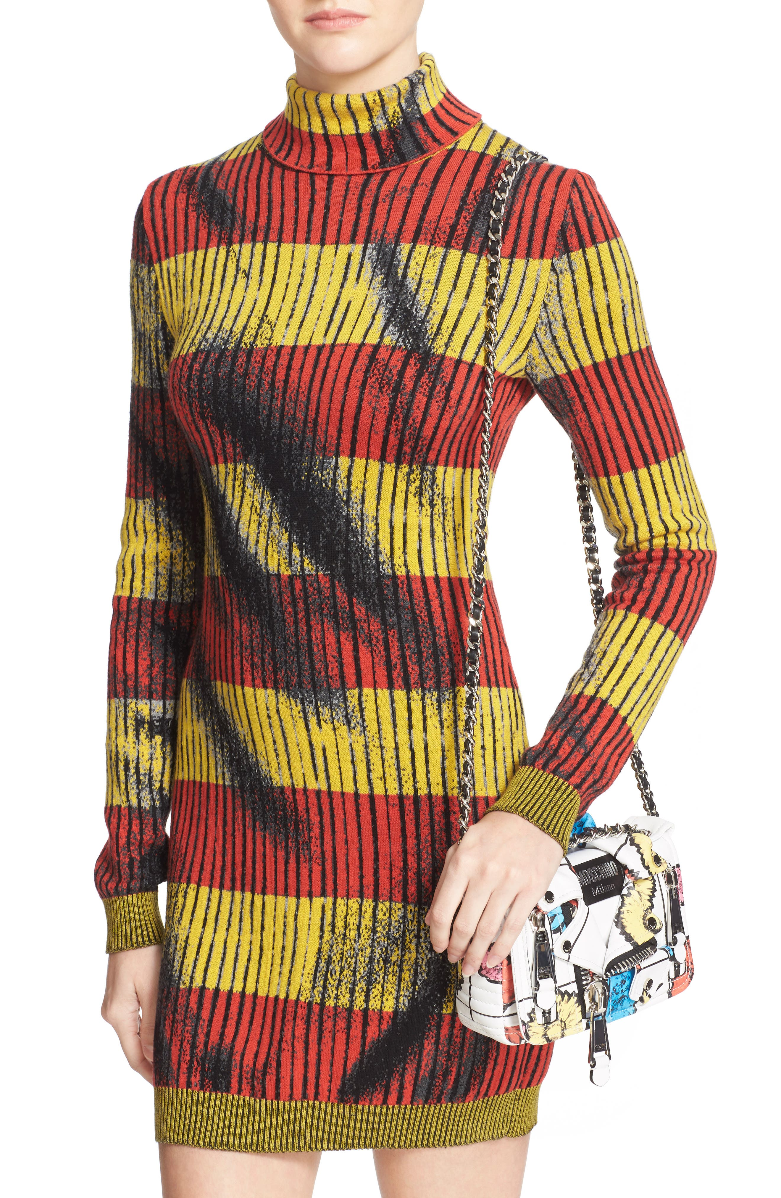 'Small Biker Jacket - Floral Print' Shoulder/Crossbody Bag,                             Alternate thumbnail 3, color,