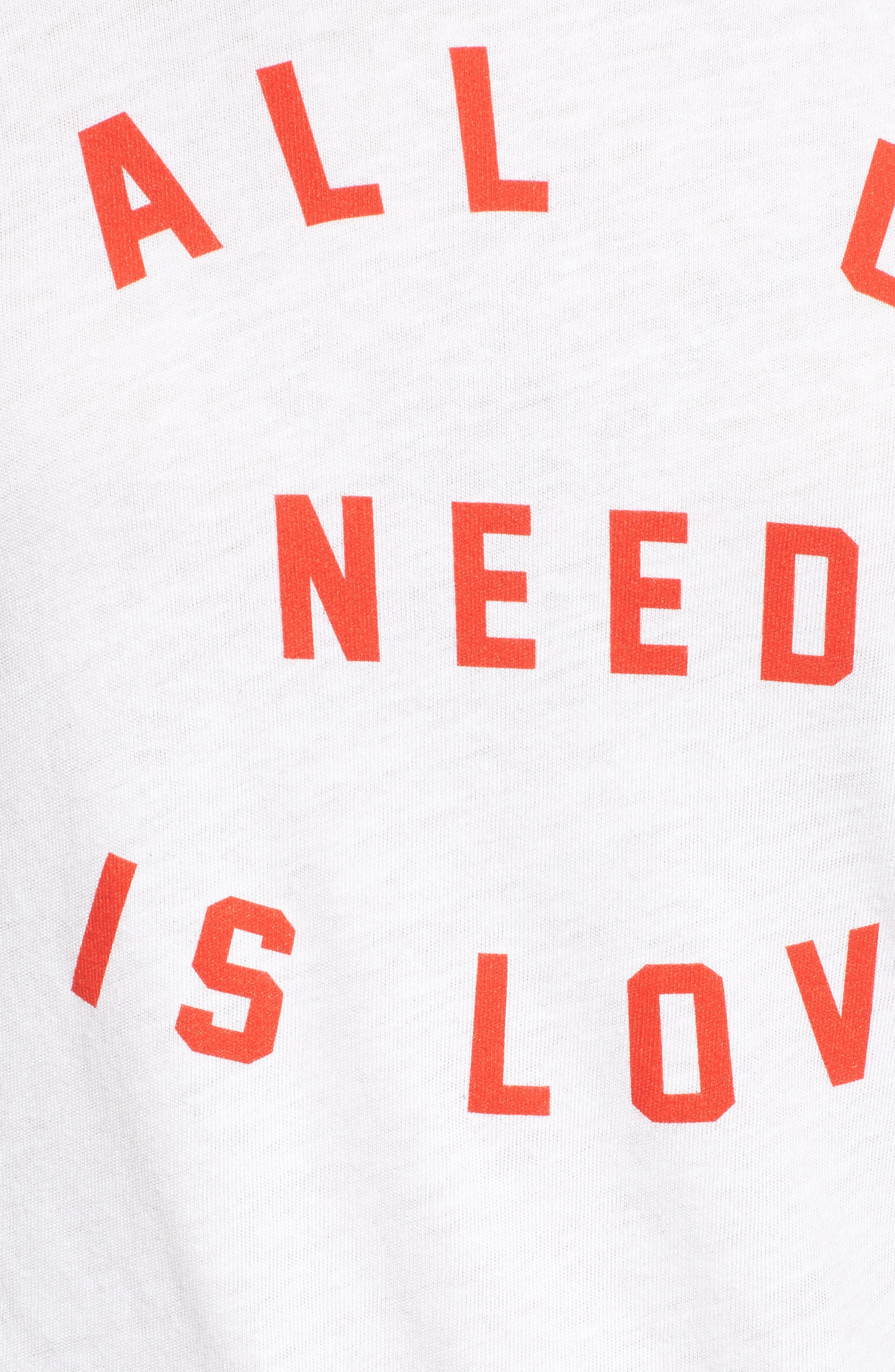 All U Need Is Love Graphic Tee,                             Alternate thumbnail 5, color,                             100