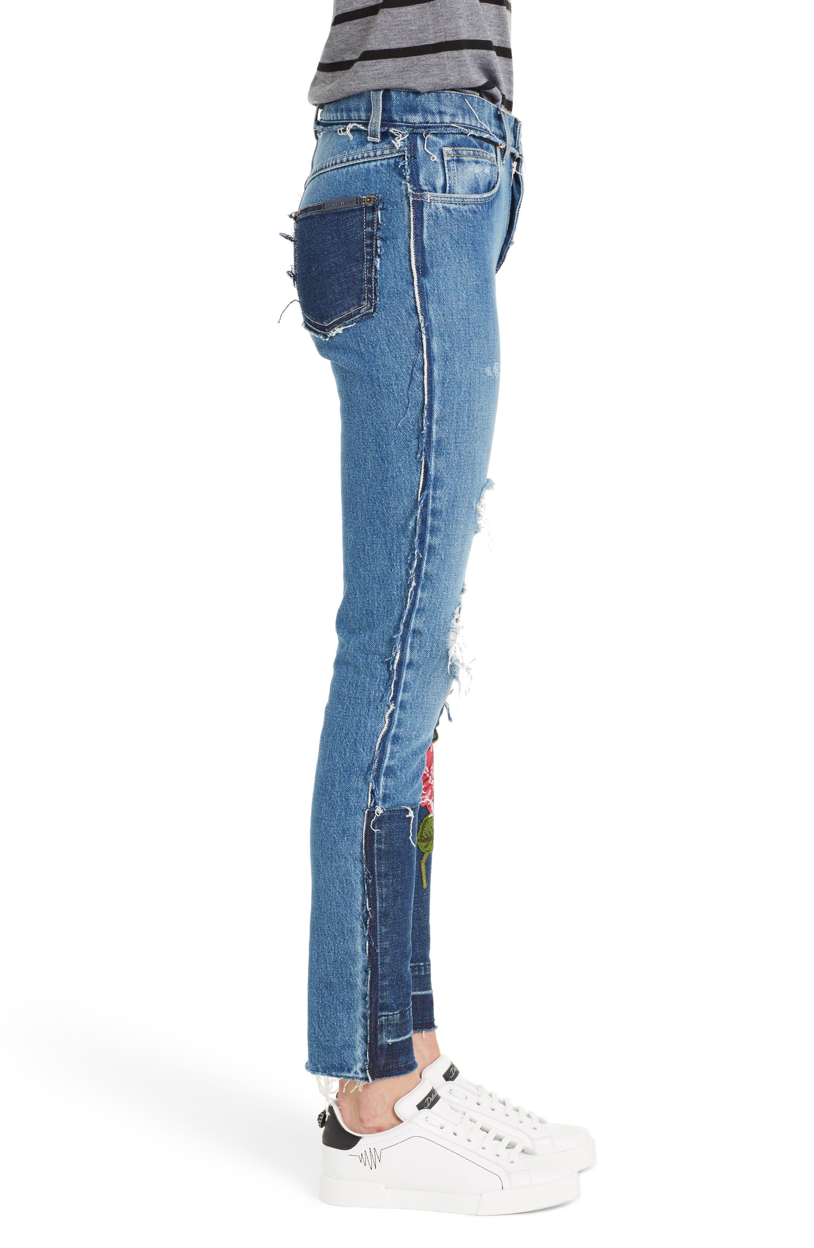 Embellished Patchwork Skinny Jeans,                             Alternate thumbnail 3, color,                             410